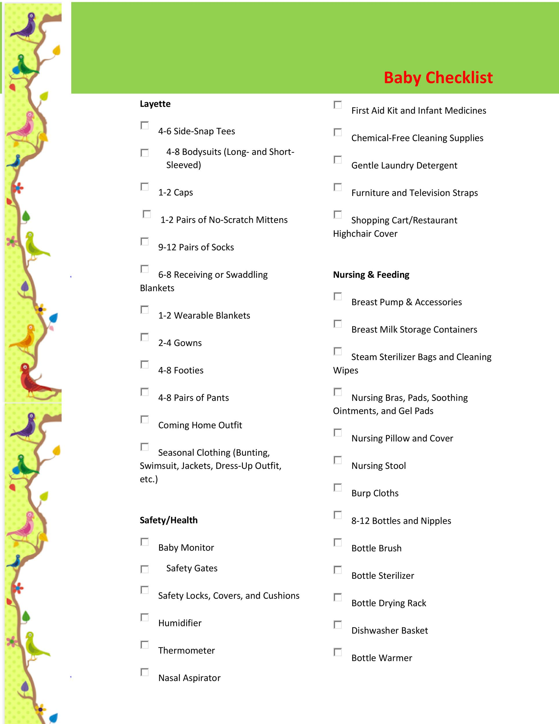 Baby Registry Checklists Newborn Baby Checklists  Template Lab