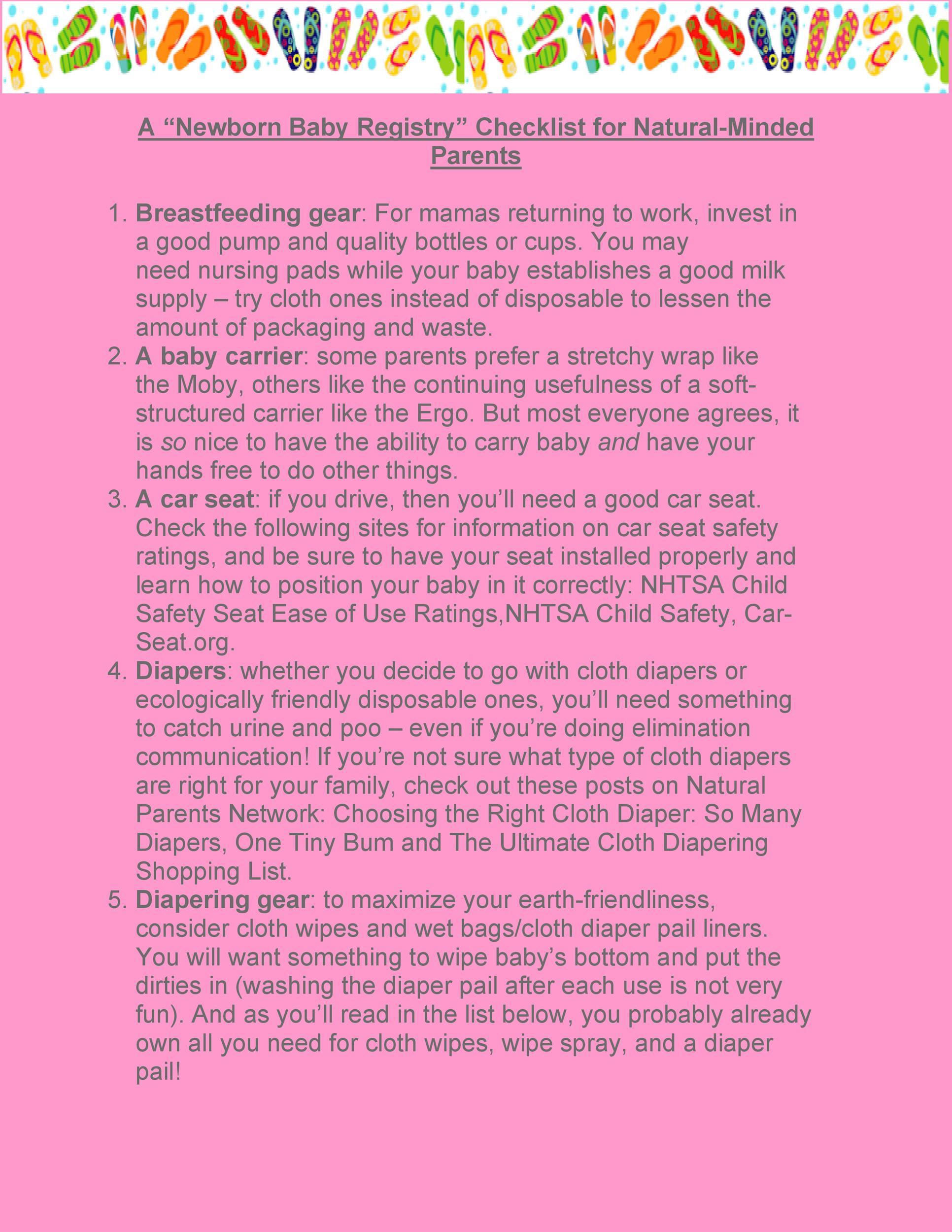 Free Baby Registry Checklist 24