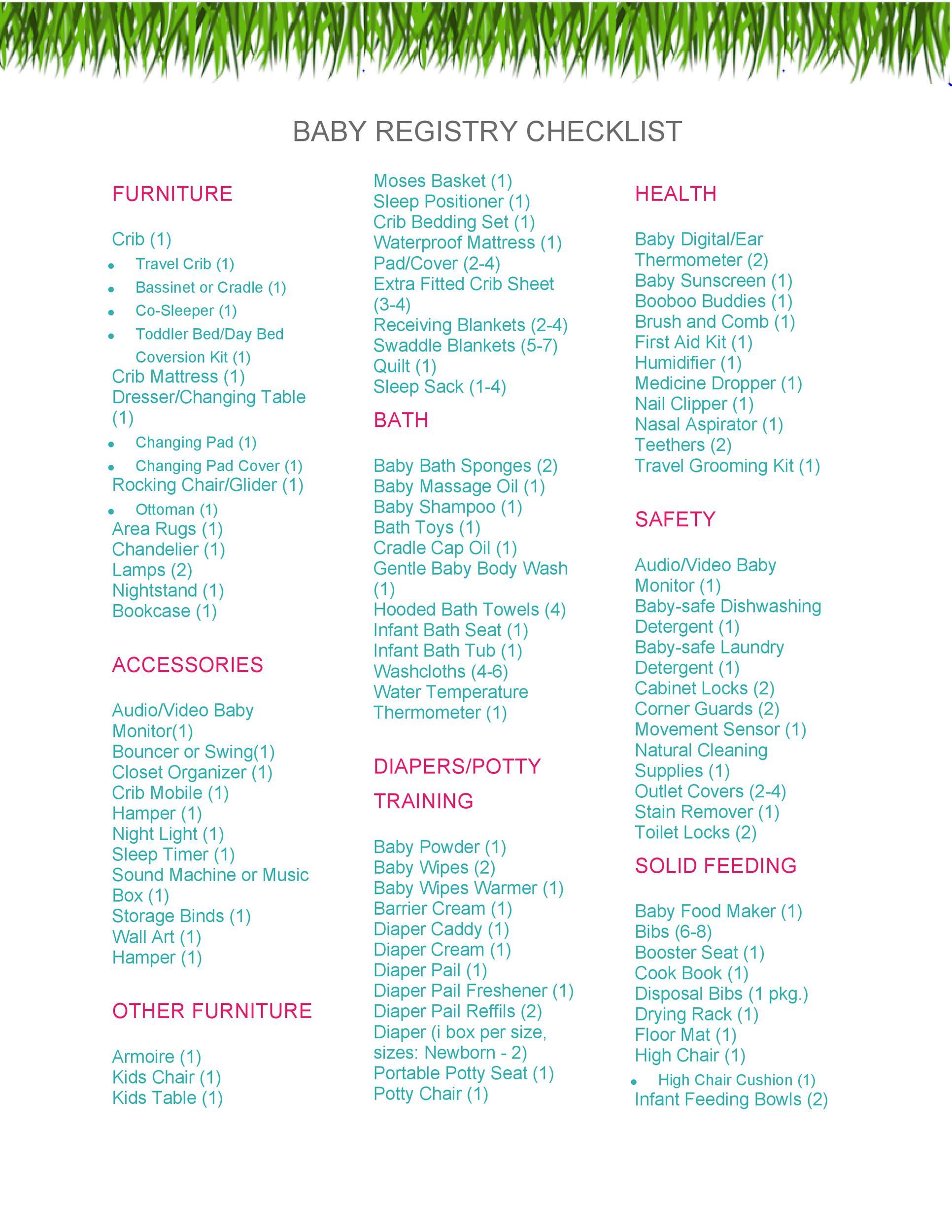 Free Baby Registry Checklist 25