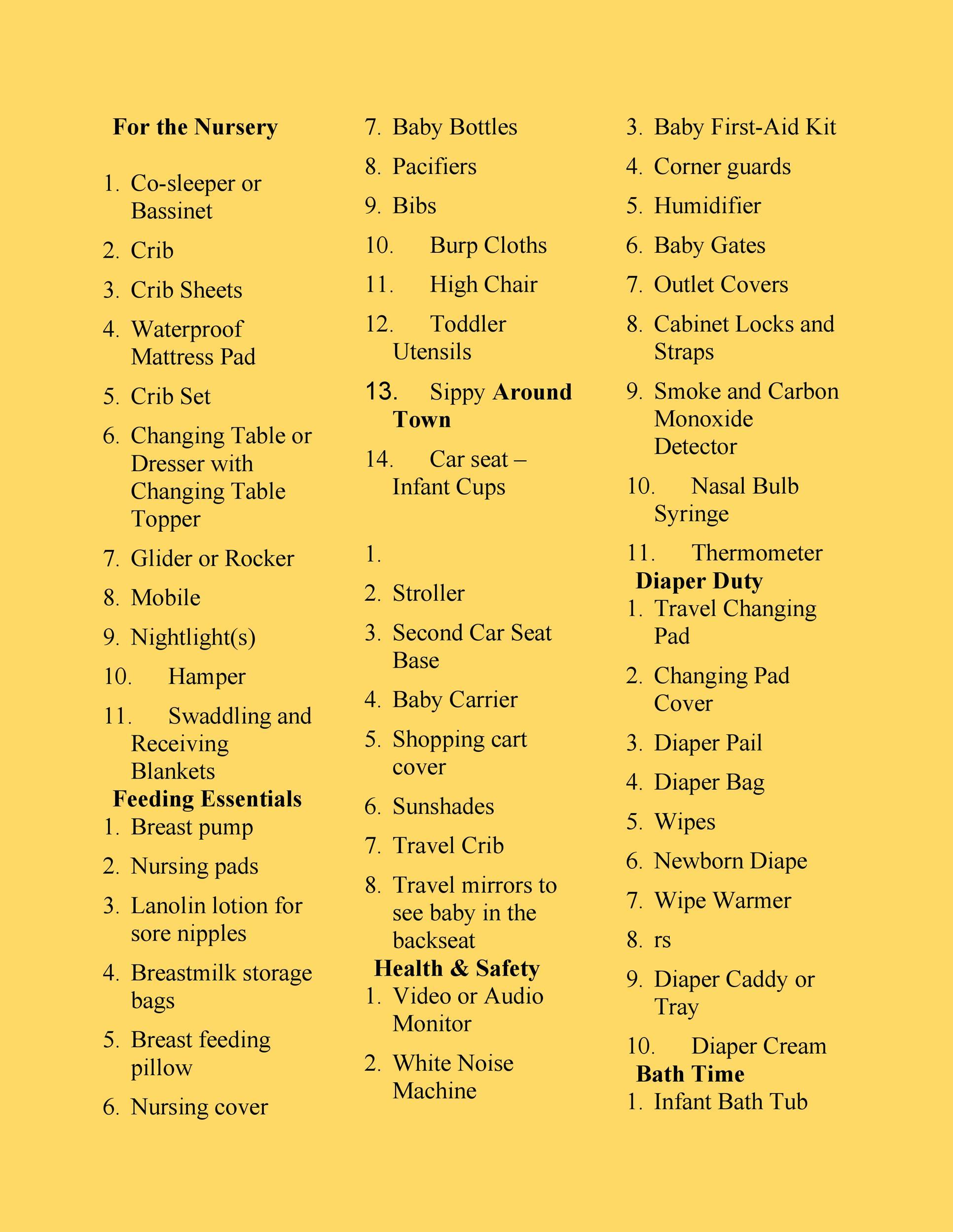 Free Baby Registry Checklist 27
