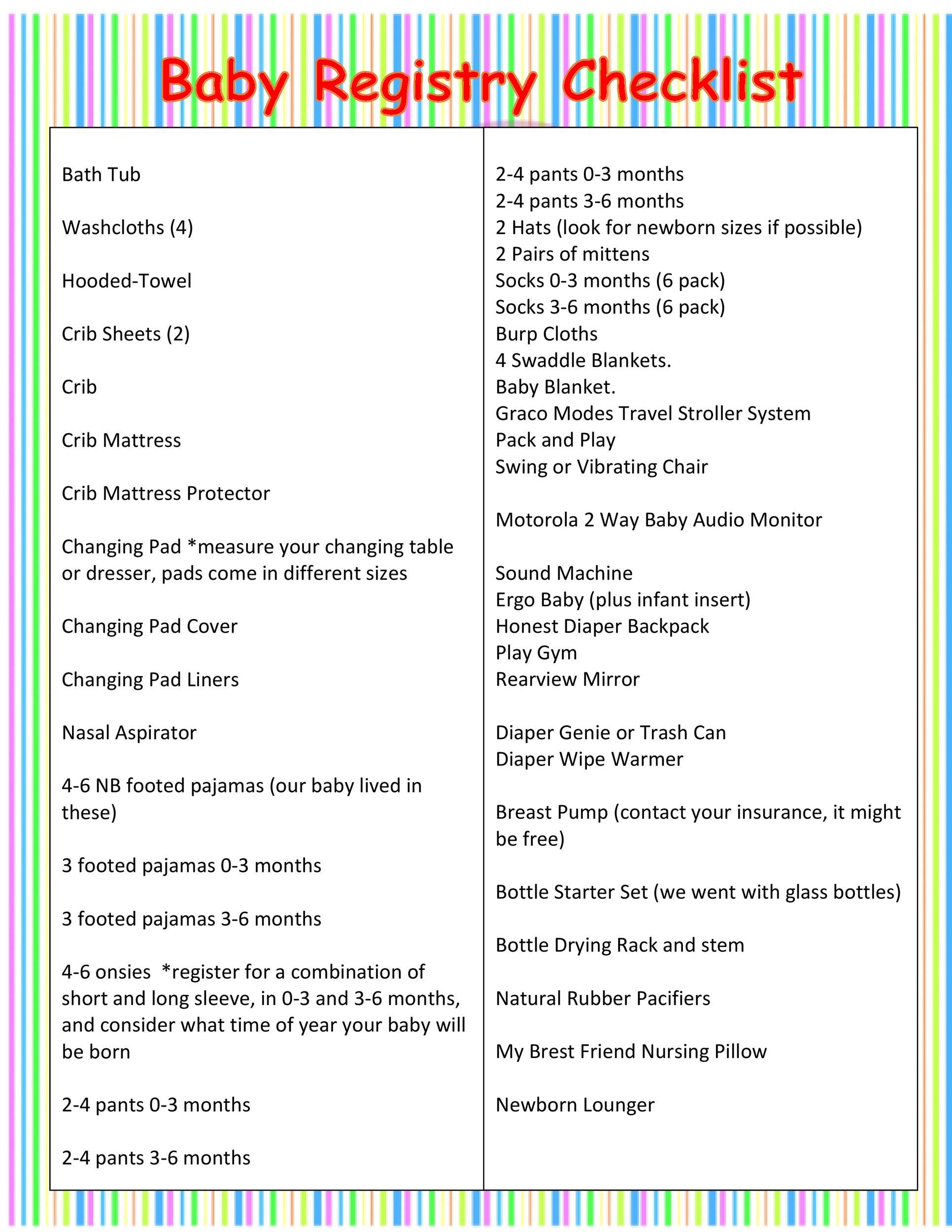 Free Baby Registry Checklist 28