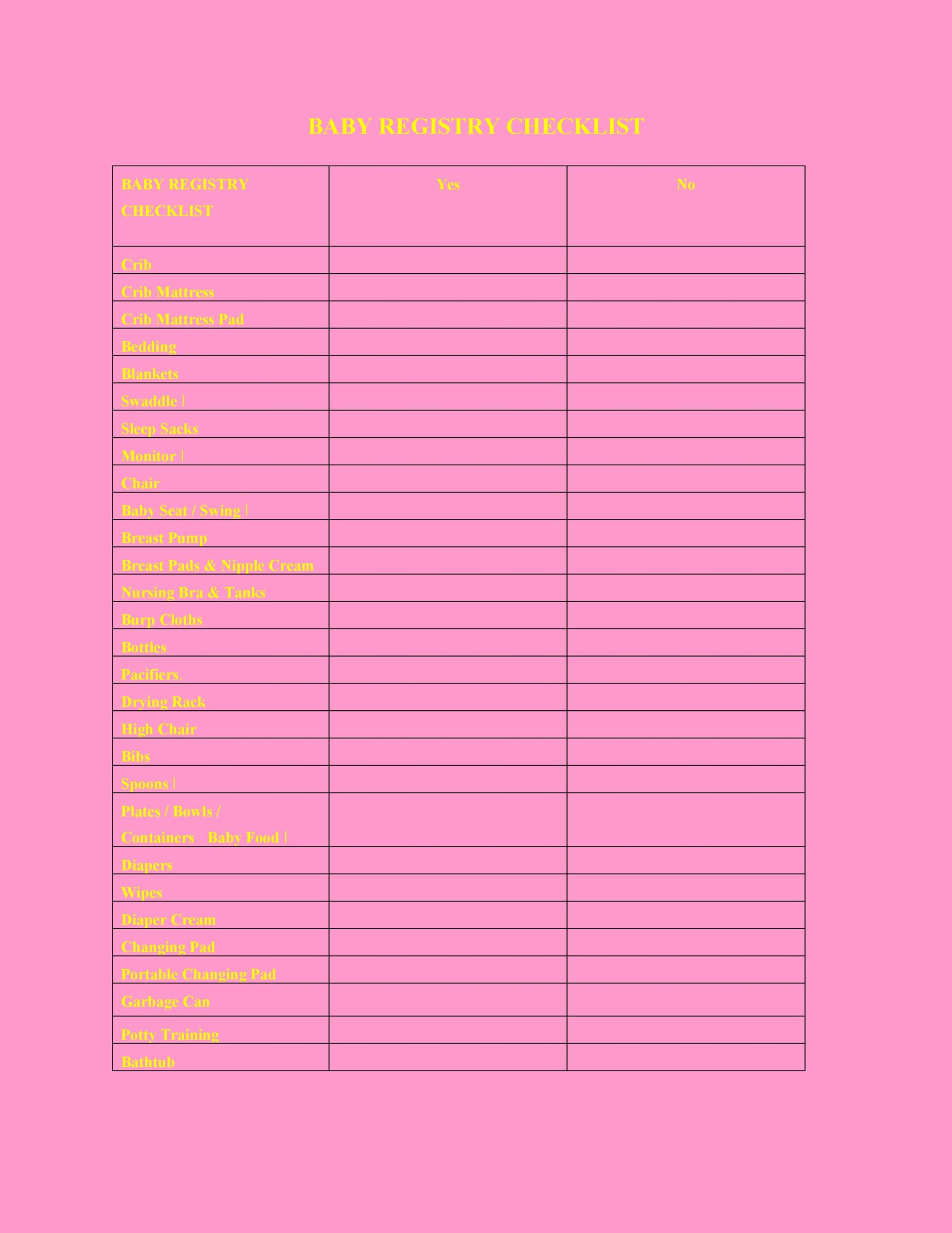 Free Baby Registry Checklist 29