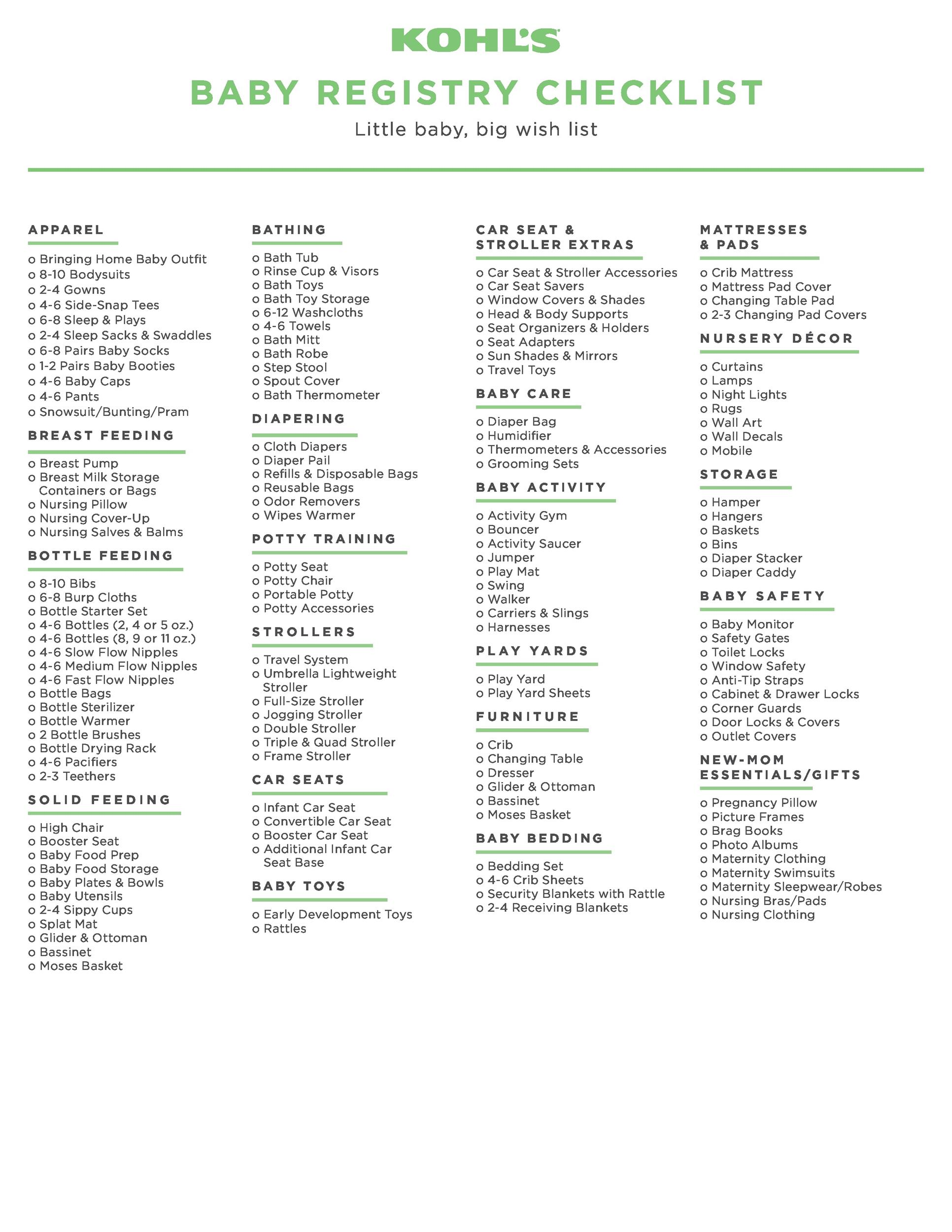 Free Baby Registry Checklist 32