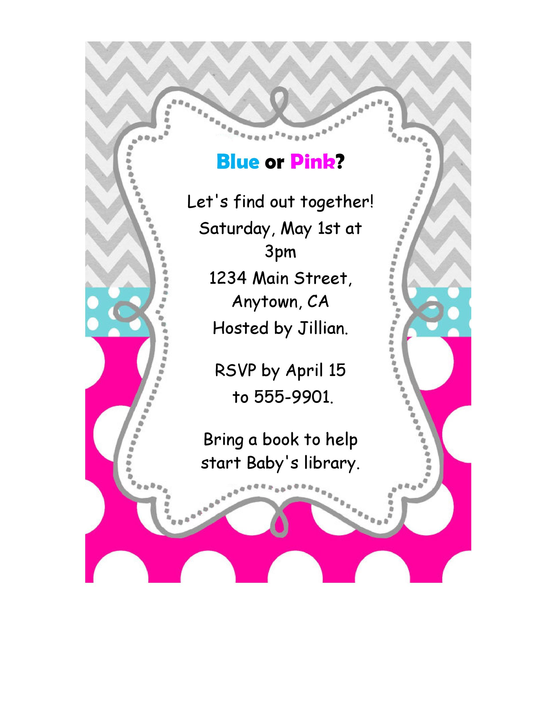 Printable Gender Reveal Invitation Template 01  Baby Shower Invite Samples