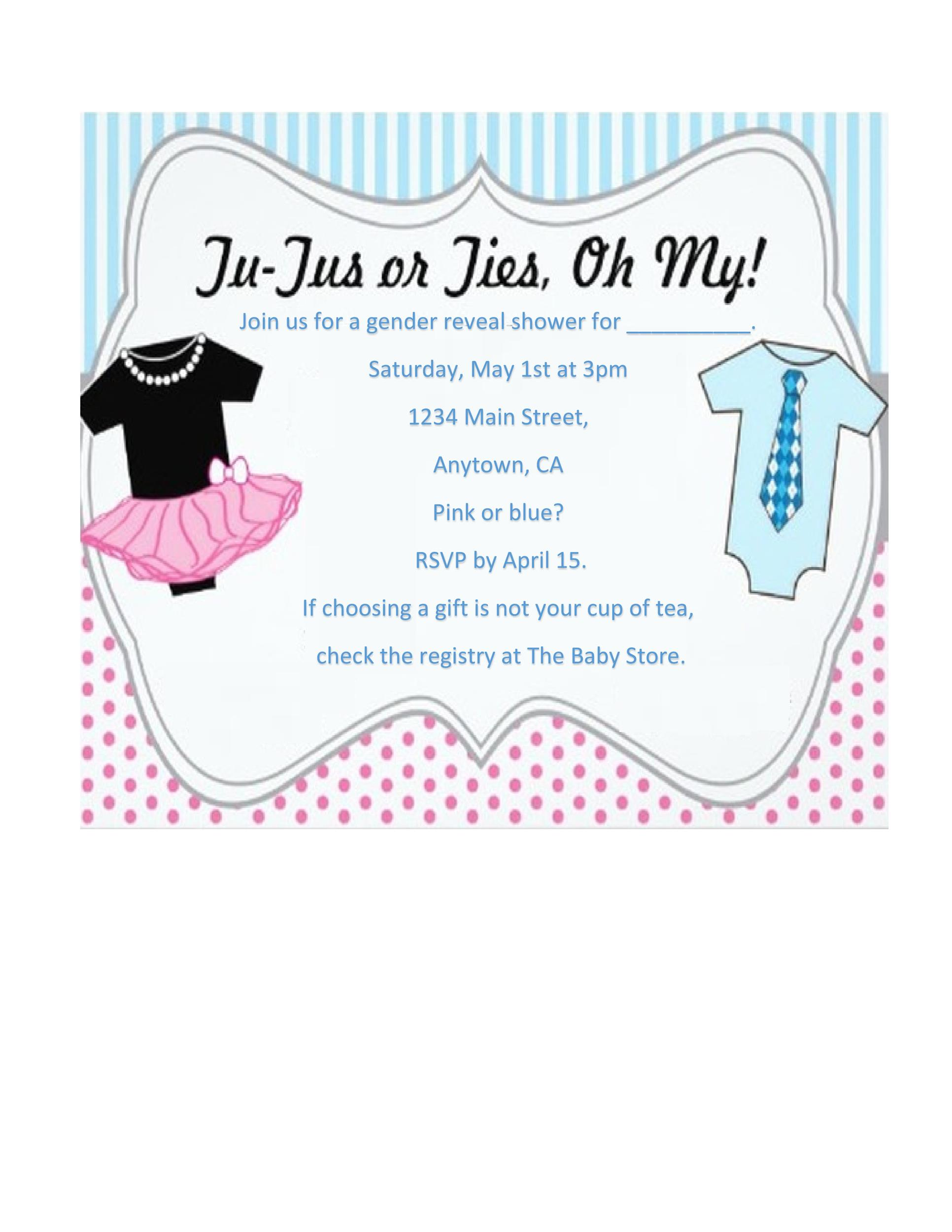 Printable Gender Reveal Invitation Template 02  Free Template Invitation