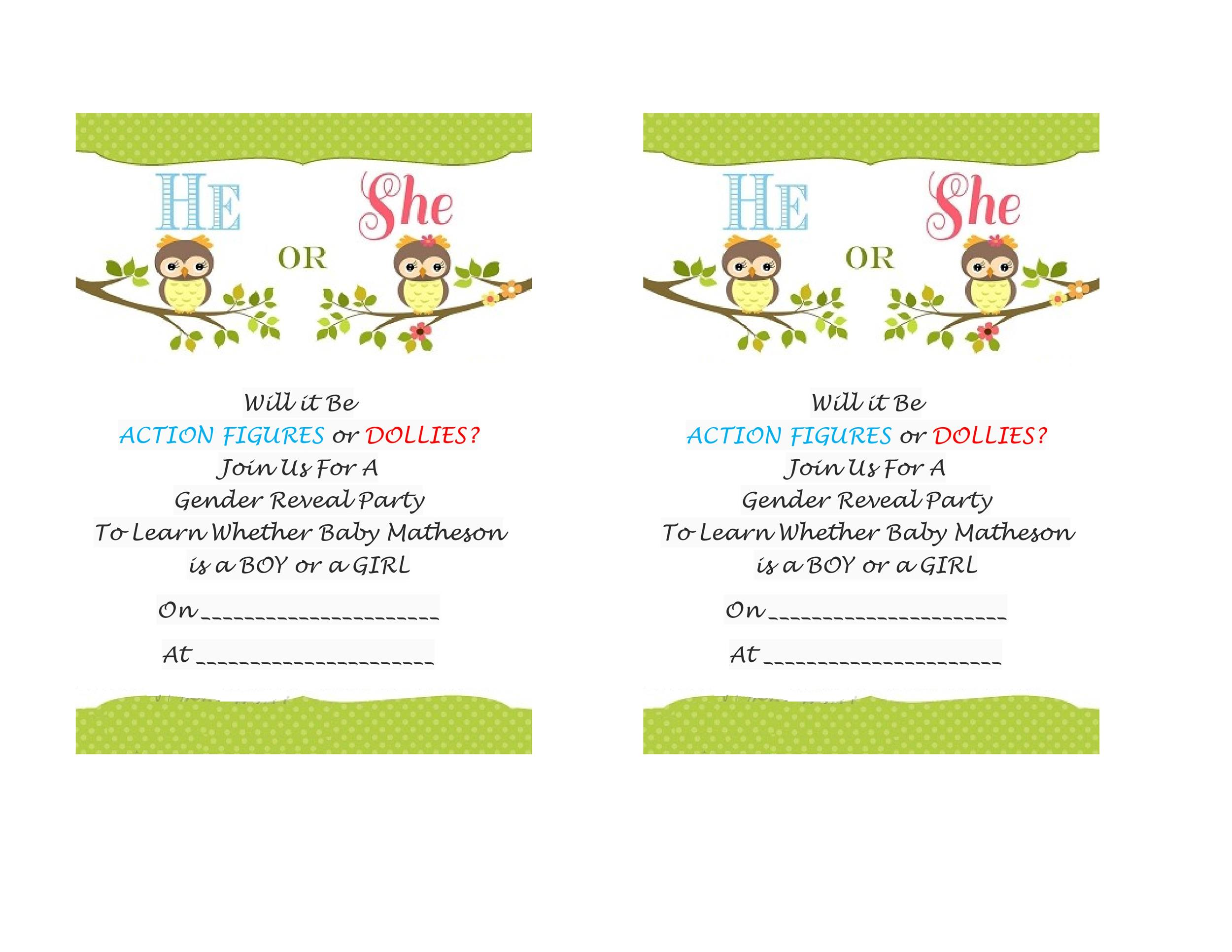 Free Gender Reveal Invitation Template 04