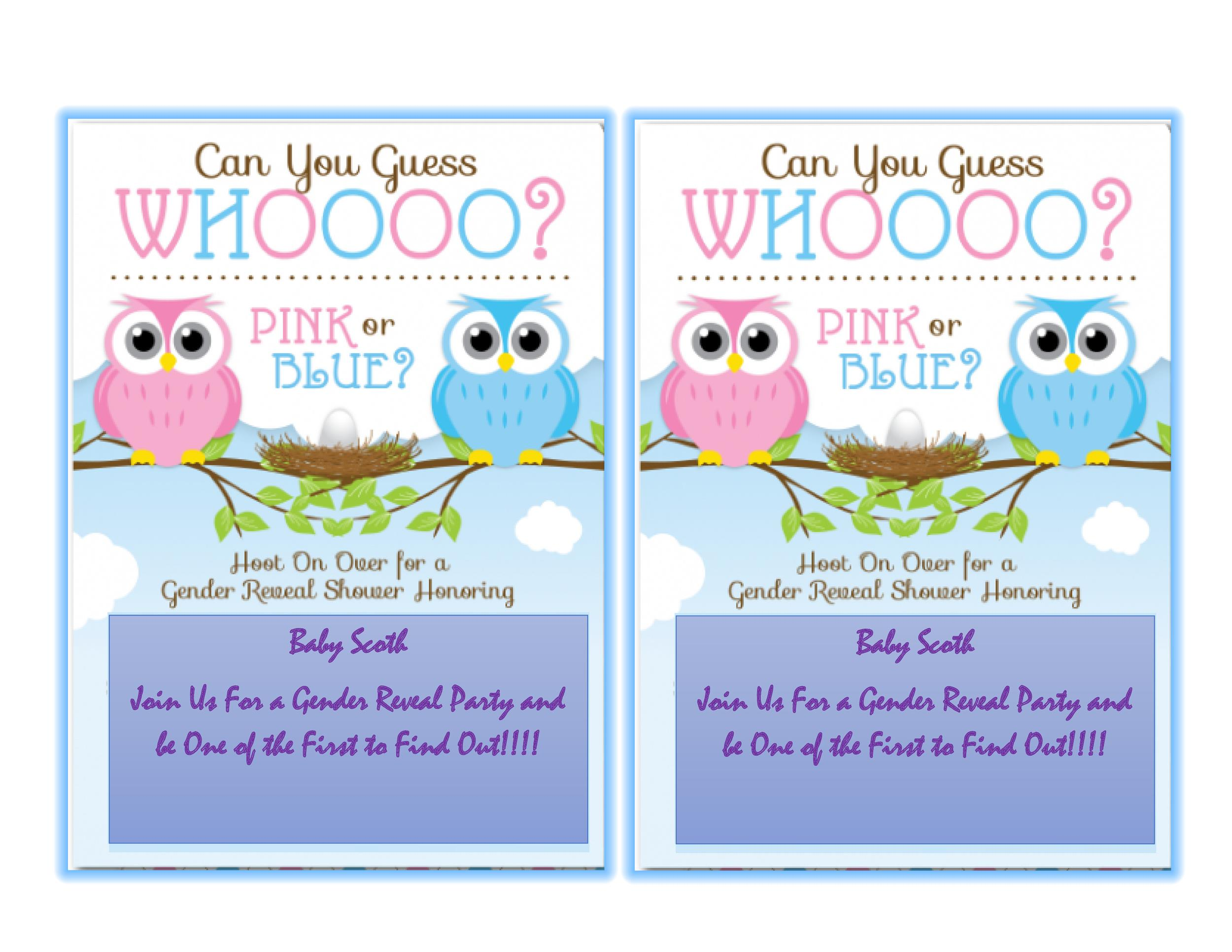 It is a graphic of Handy Free Printable Gender Reveal Invitations