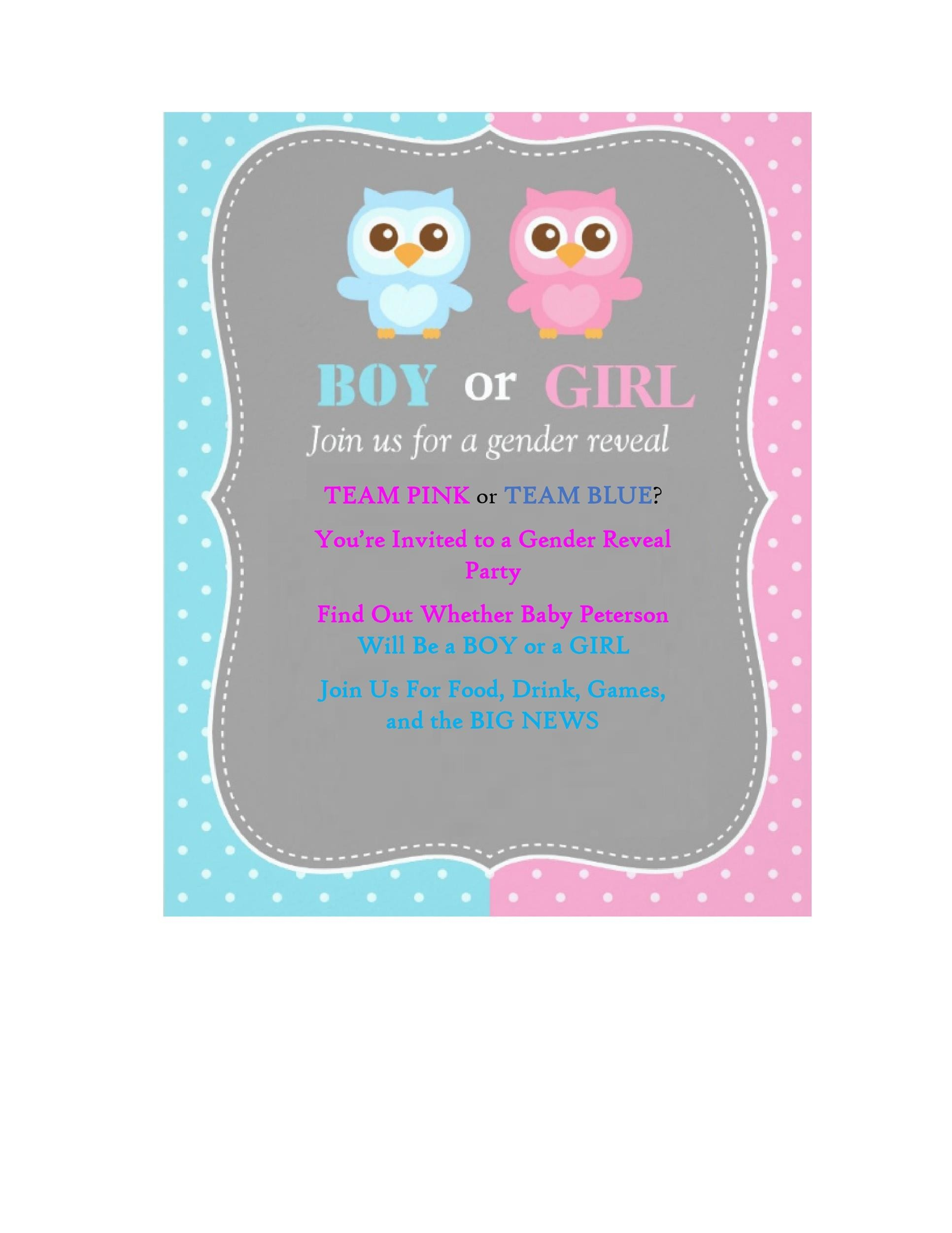 printable gender reveal invitation template 08 - Free Printable Gender Reveal Party Invitations