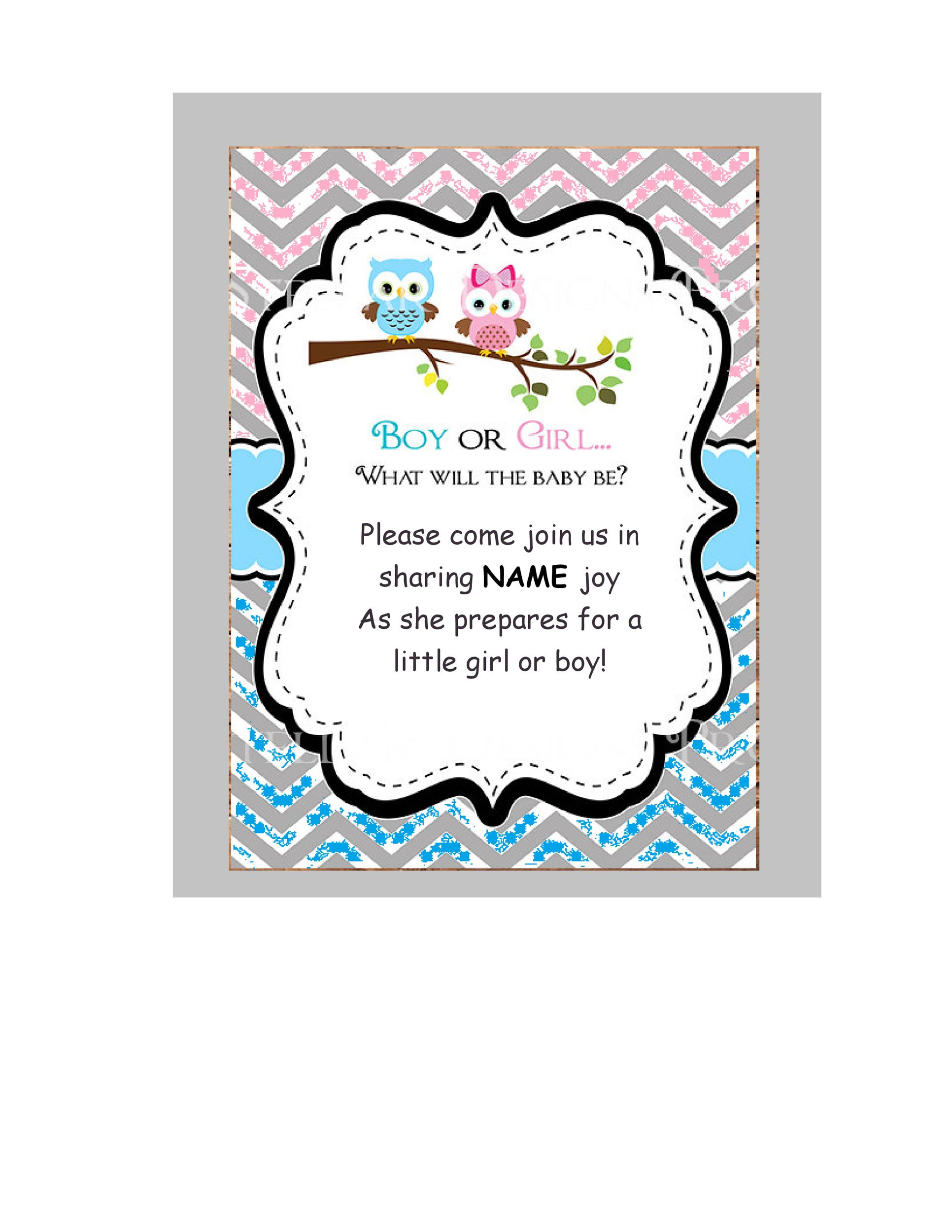 image relating to Free Printable Gender Reveal Invitations titled 17 Free of charge Gender Clarify Invitation Templates ᐅ Template Lab