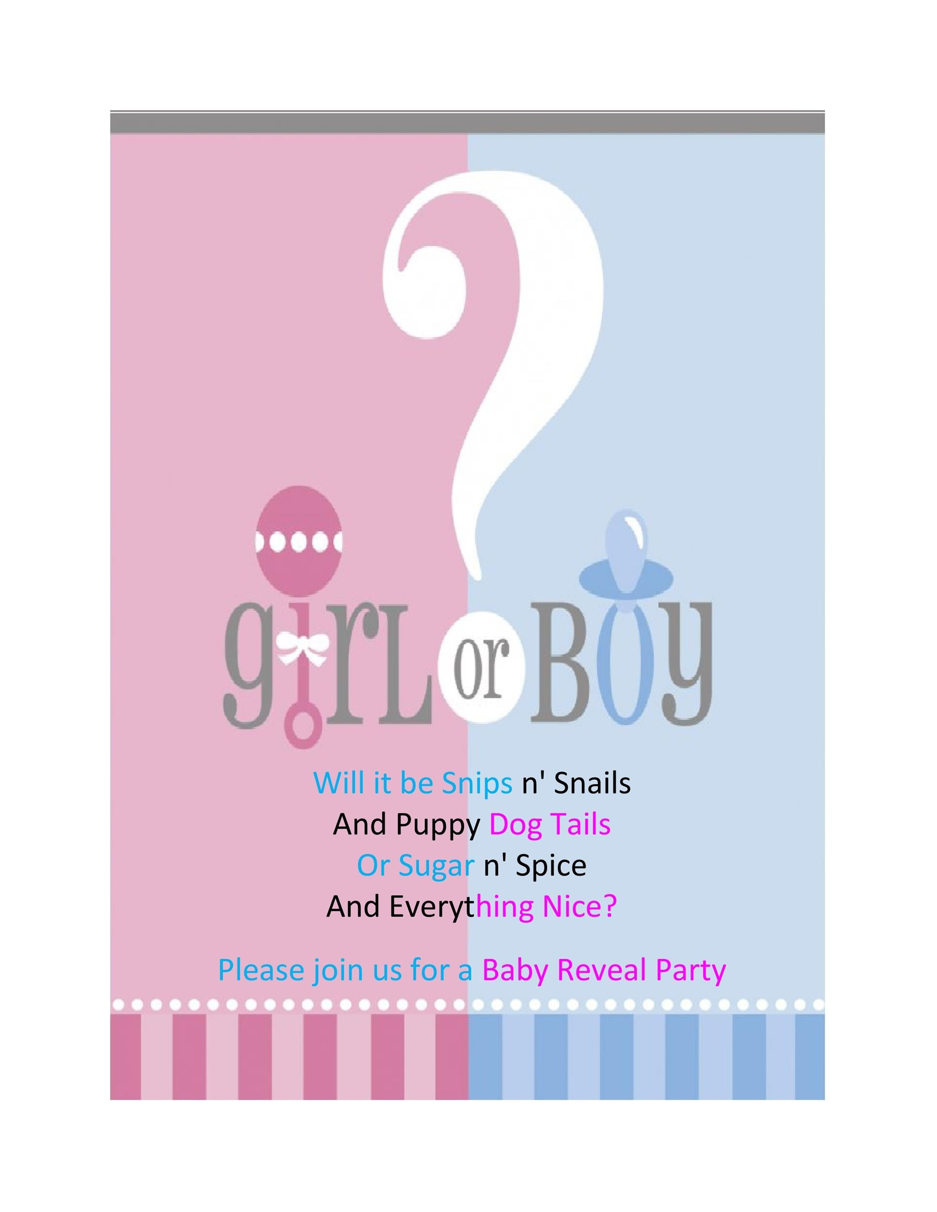 This is an image of Priceless Free Printable Gender Reveal Invitations