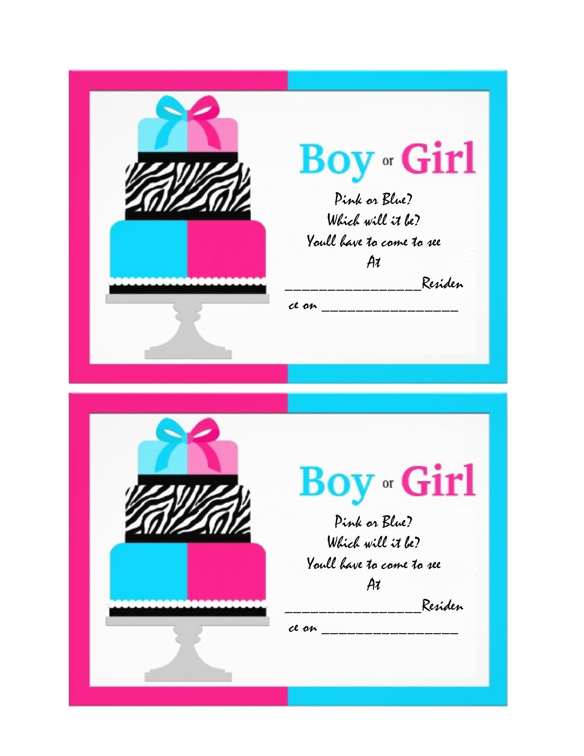 It is a picture of Candid Free Printable Gender Reveal Invitation Templates