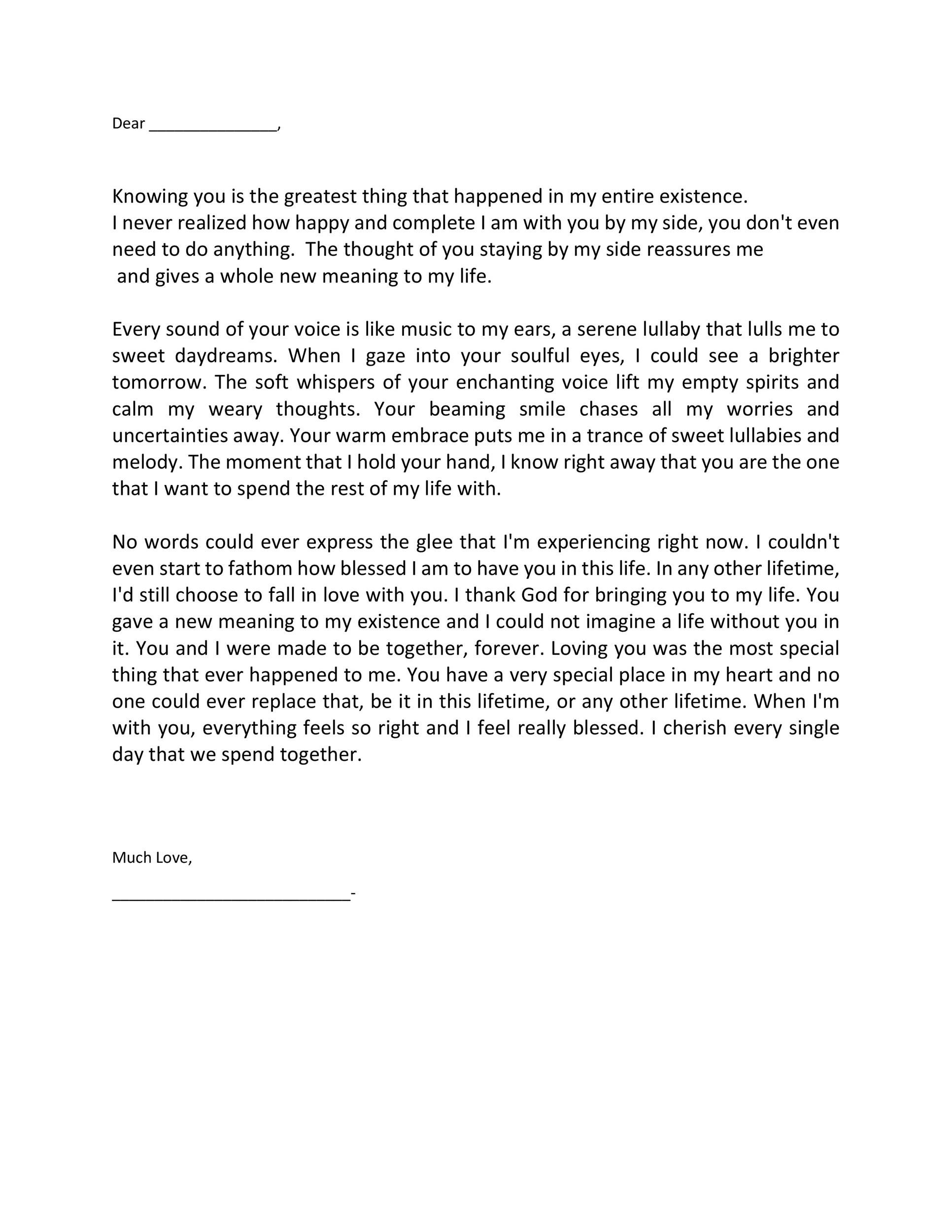 Printable Love Letter Template 01