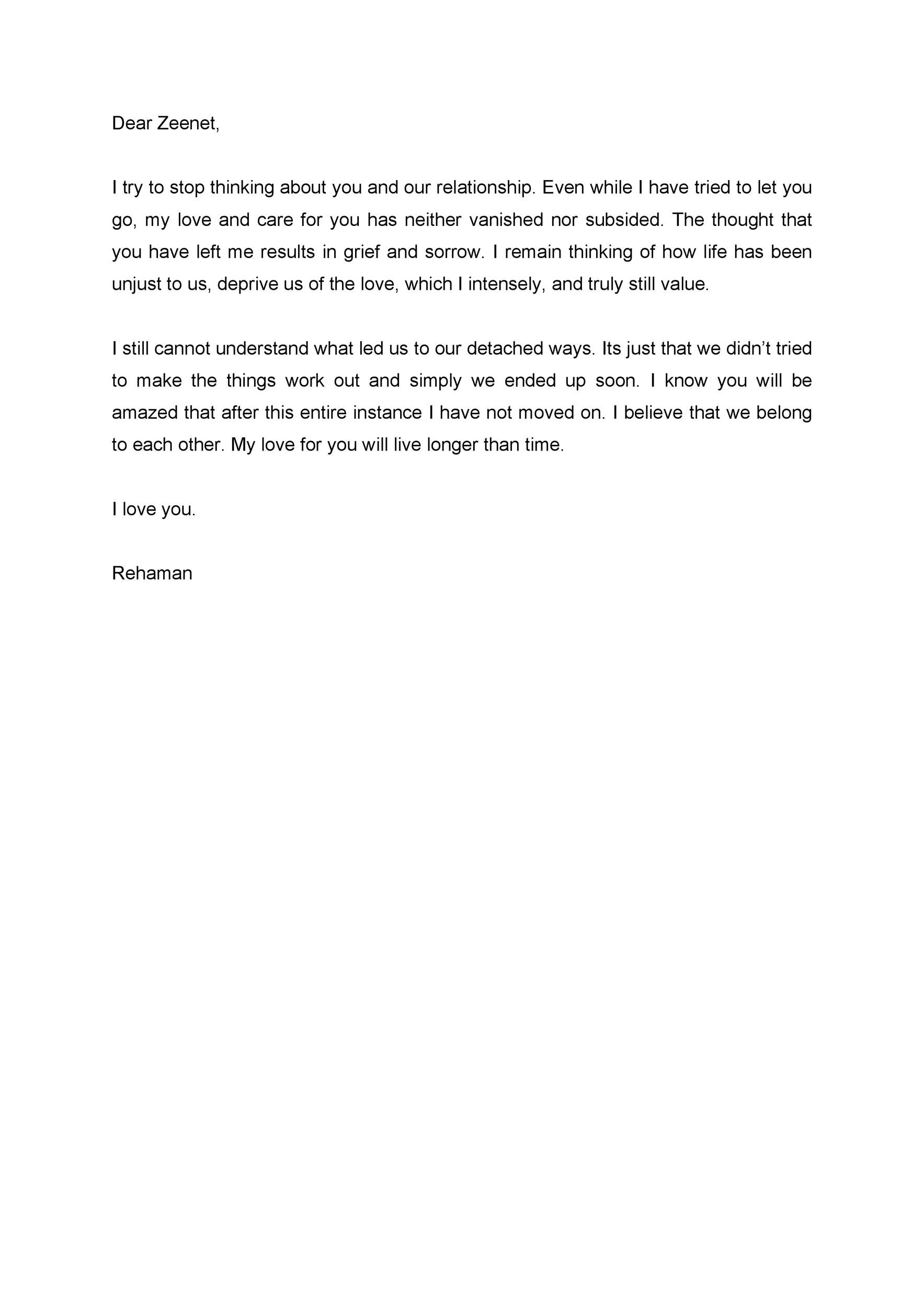 Free Love Letter Template 20