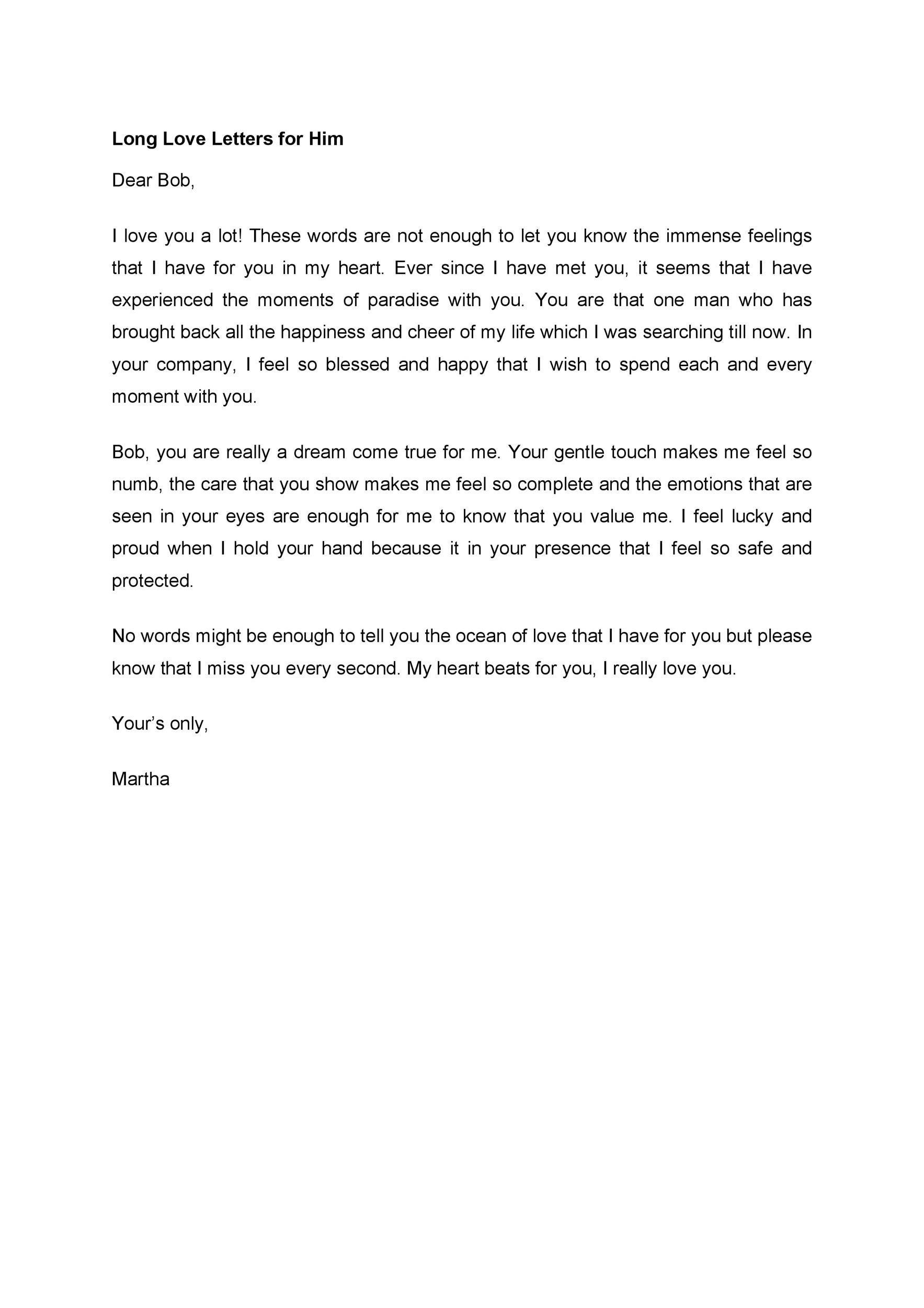 Love letter in english for him