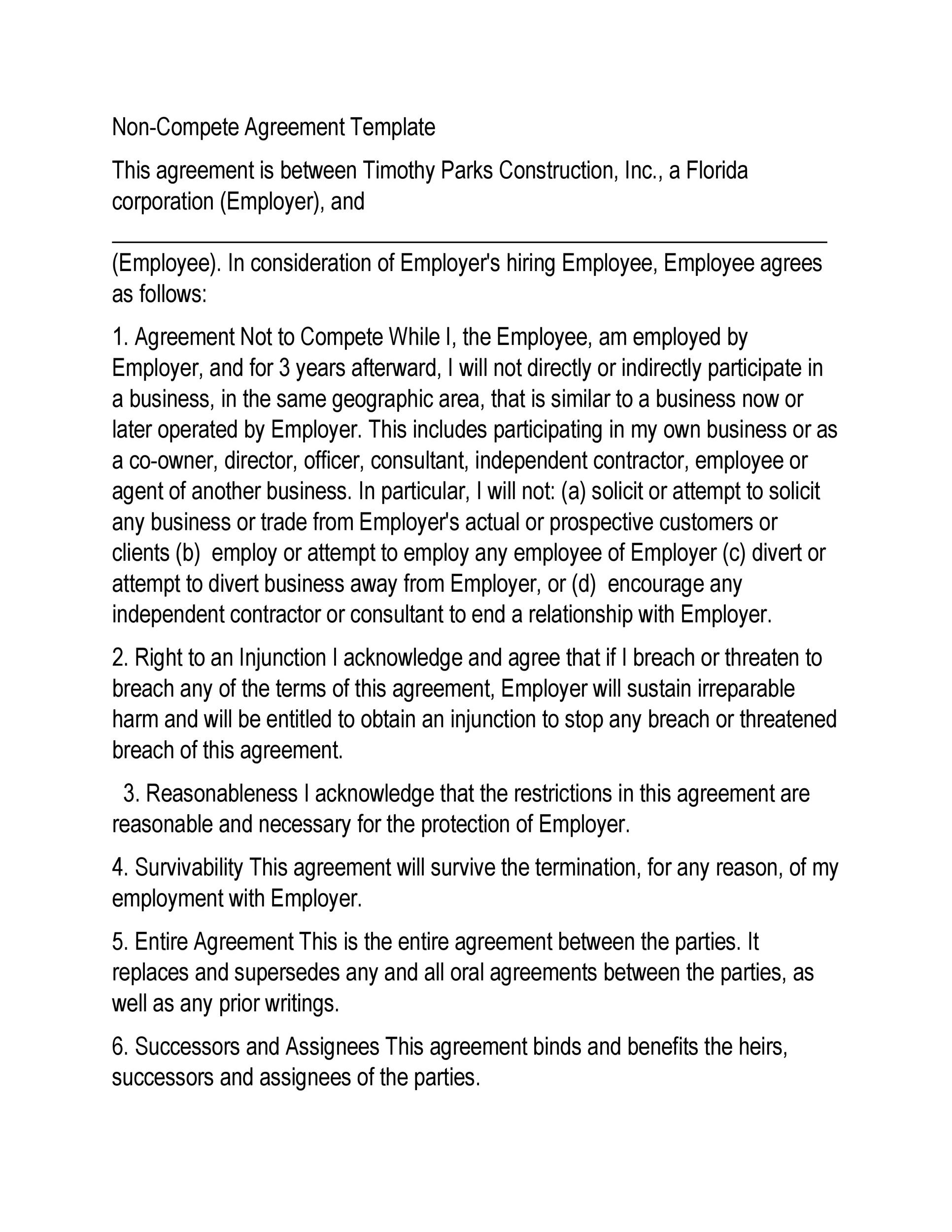 Printable Non Compete Agreement Template 01  Free Agreement Template