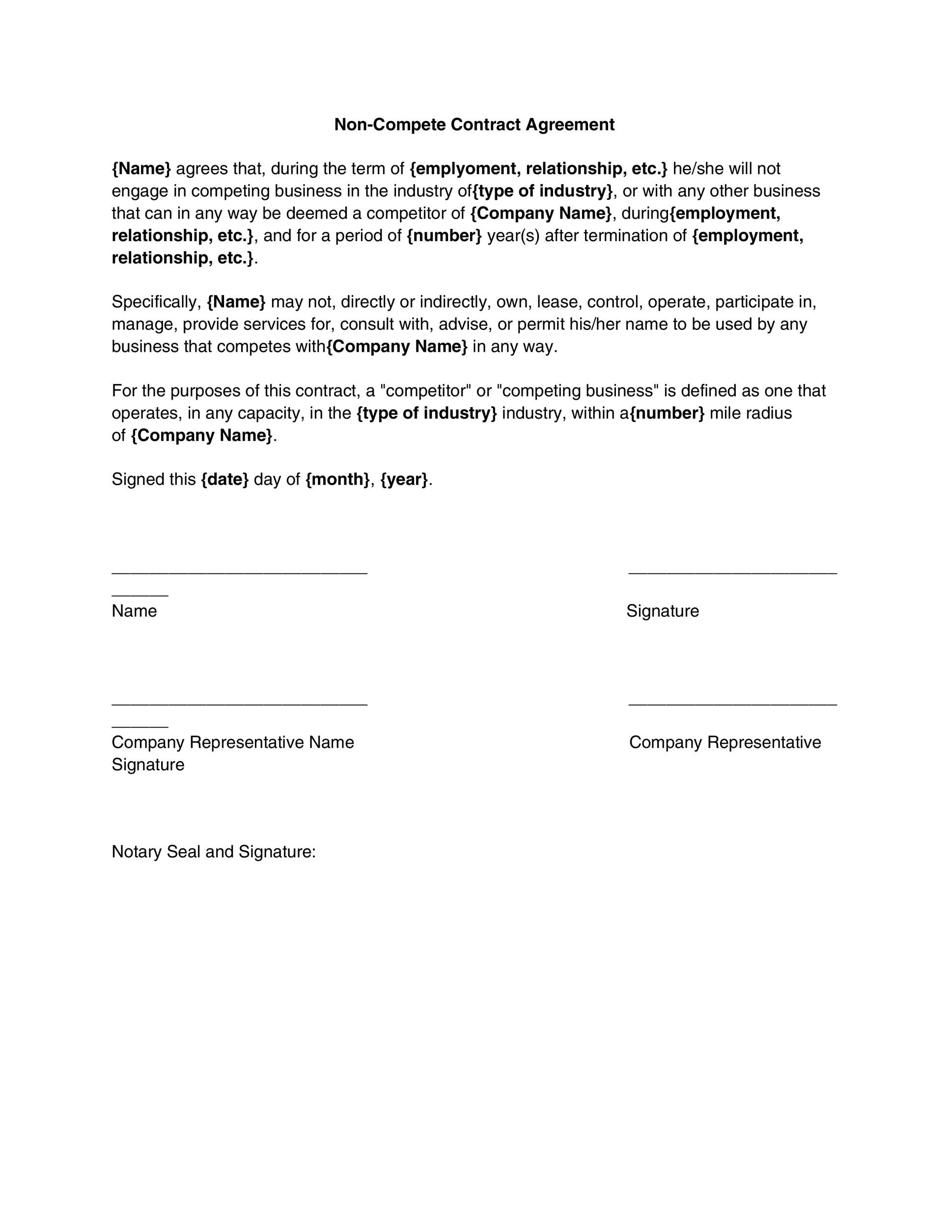 Non Compete Agreement Template Non Disclosure Agreement Template