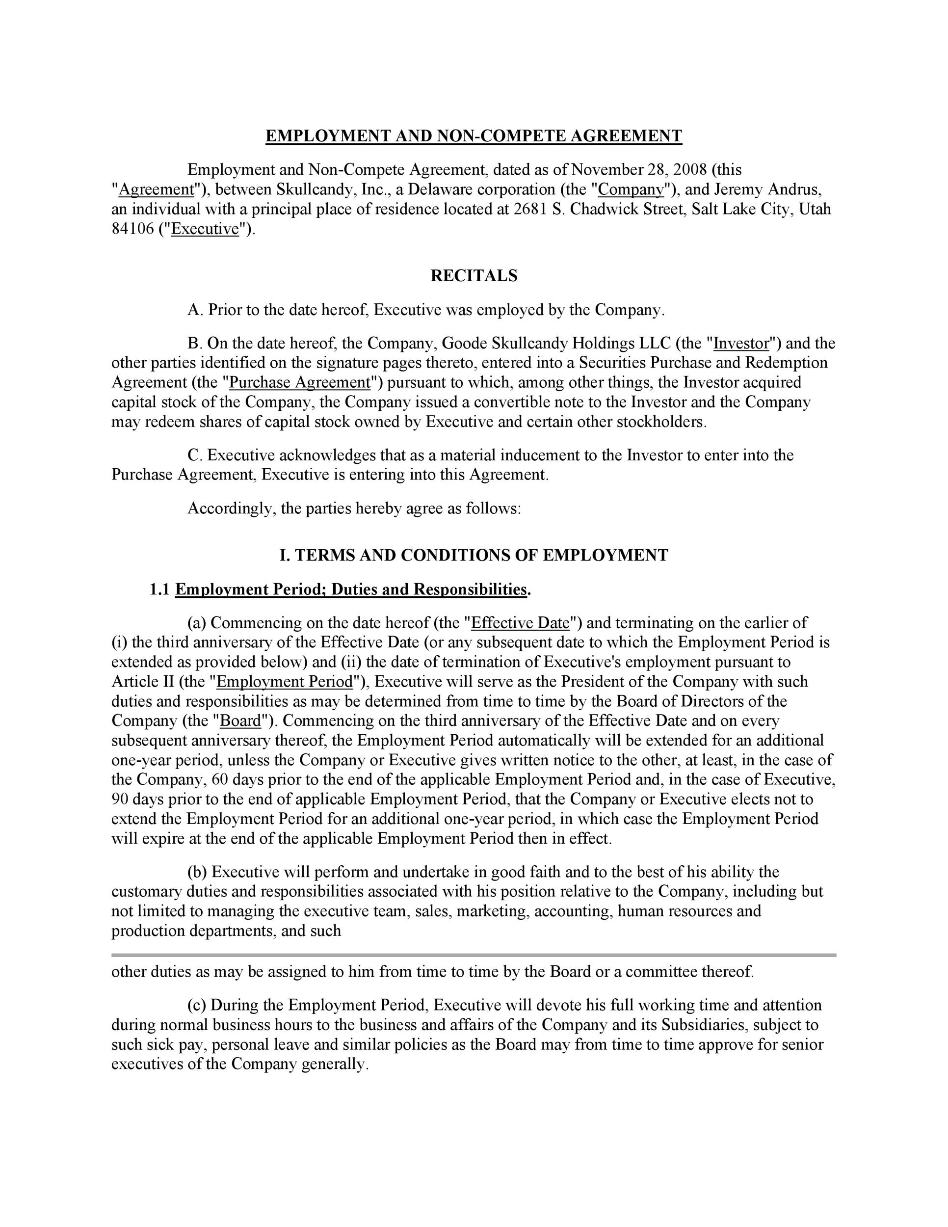 39 Readytouse NonCompete Agreement Templates Template Lab – Sample Non Compete Agreement Template