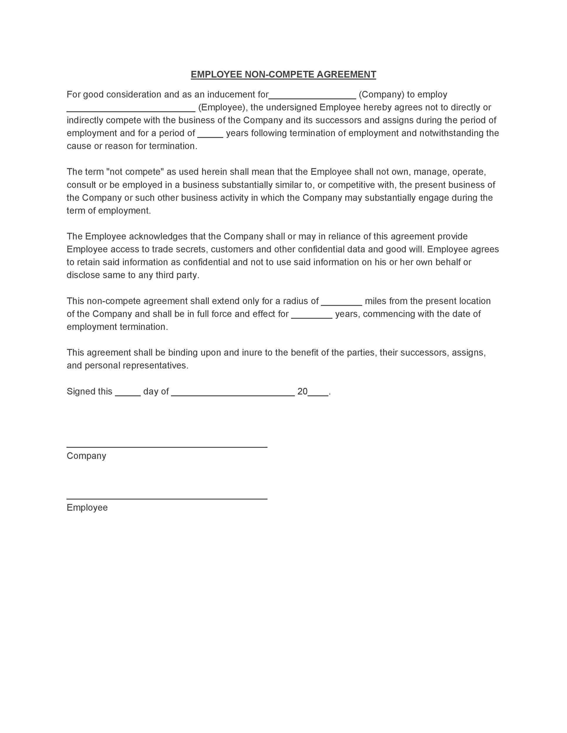 Non-Compete Agreement Template 13