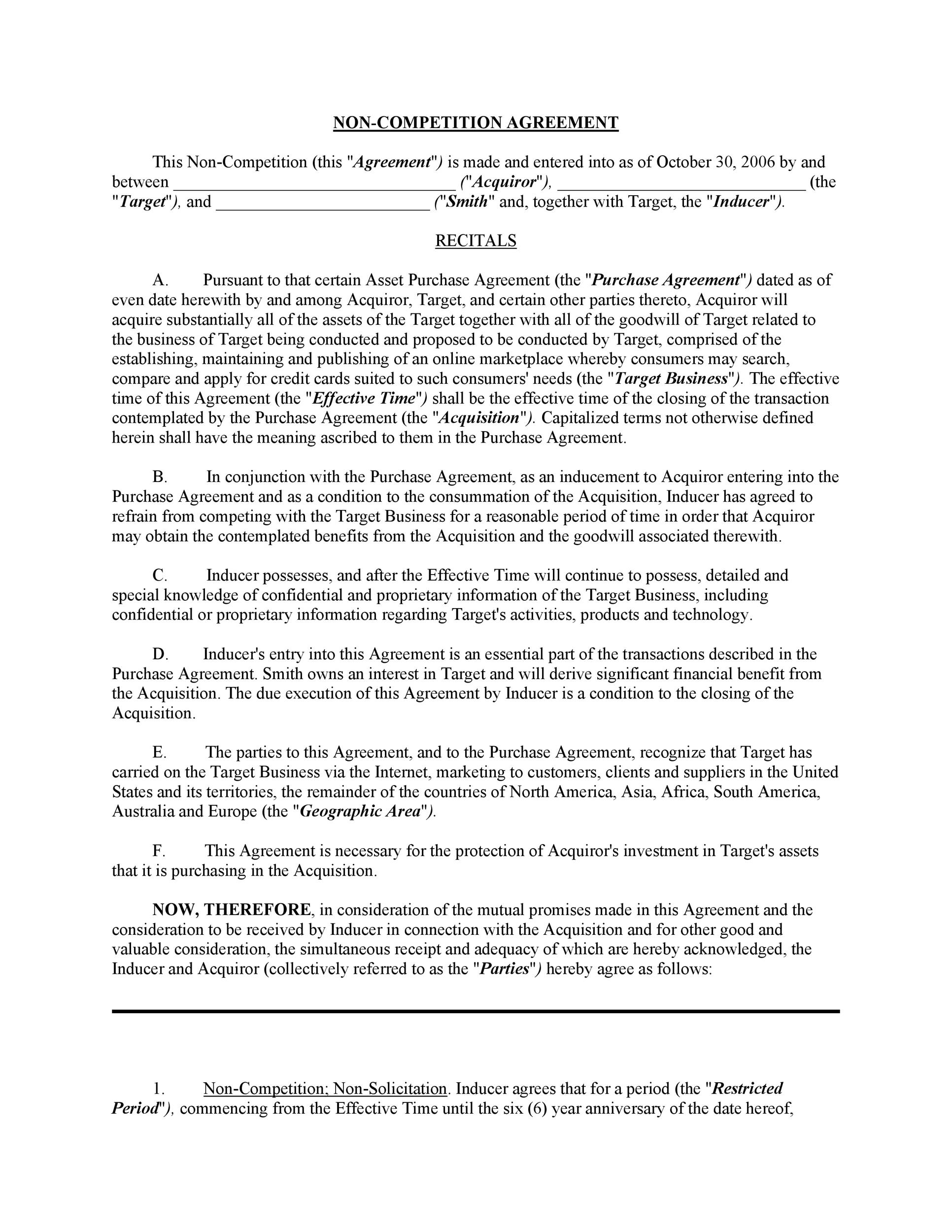 Sample Stock Purchase Agreement Noncompete Agreement Template