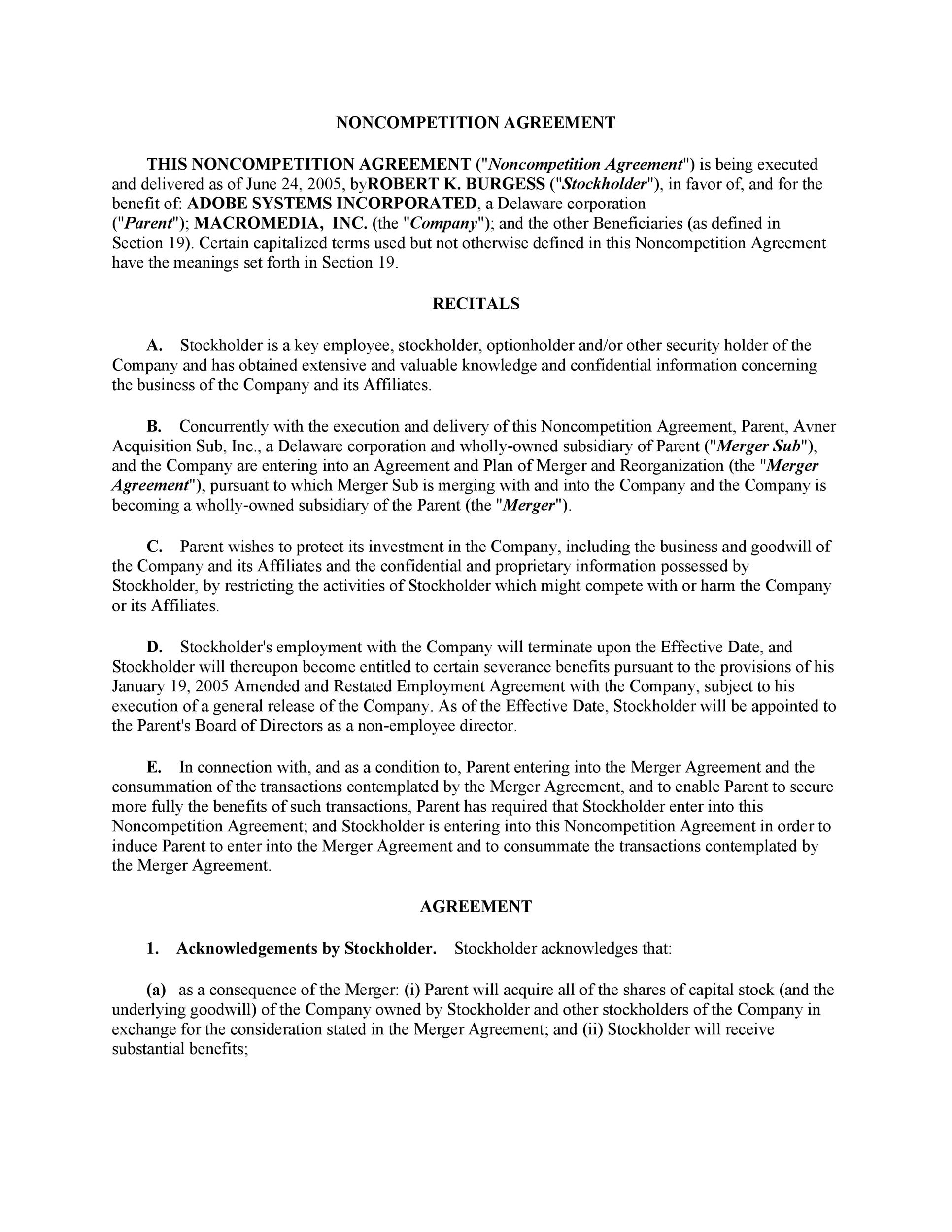 Non-Compete Agreement Template 23