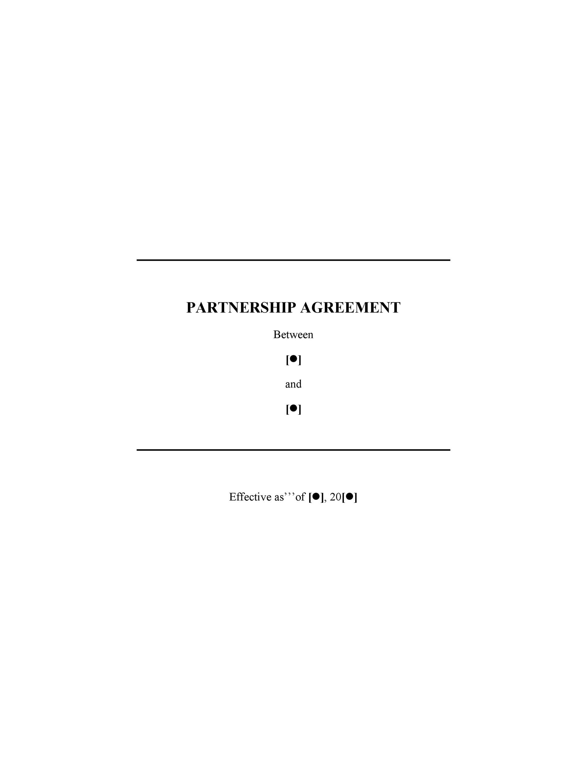 Printable Partnership Agreement Template 01  Agreement Templates