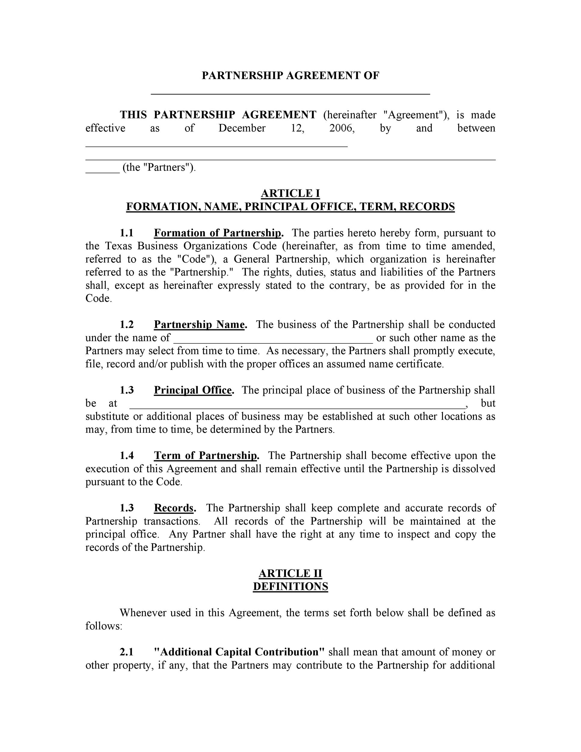 Printable Partnership Agreement Template 02  Partnership Agreement Free Template