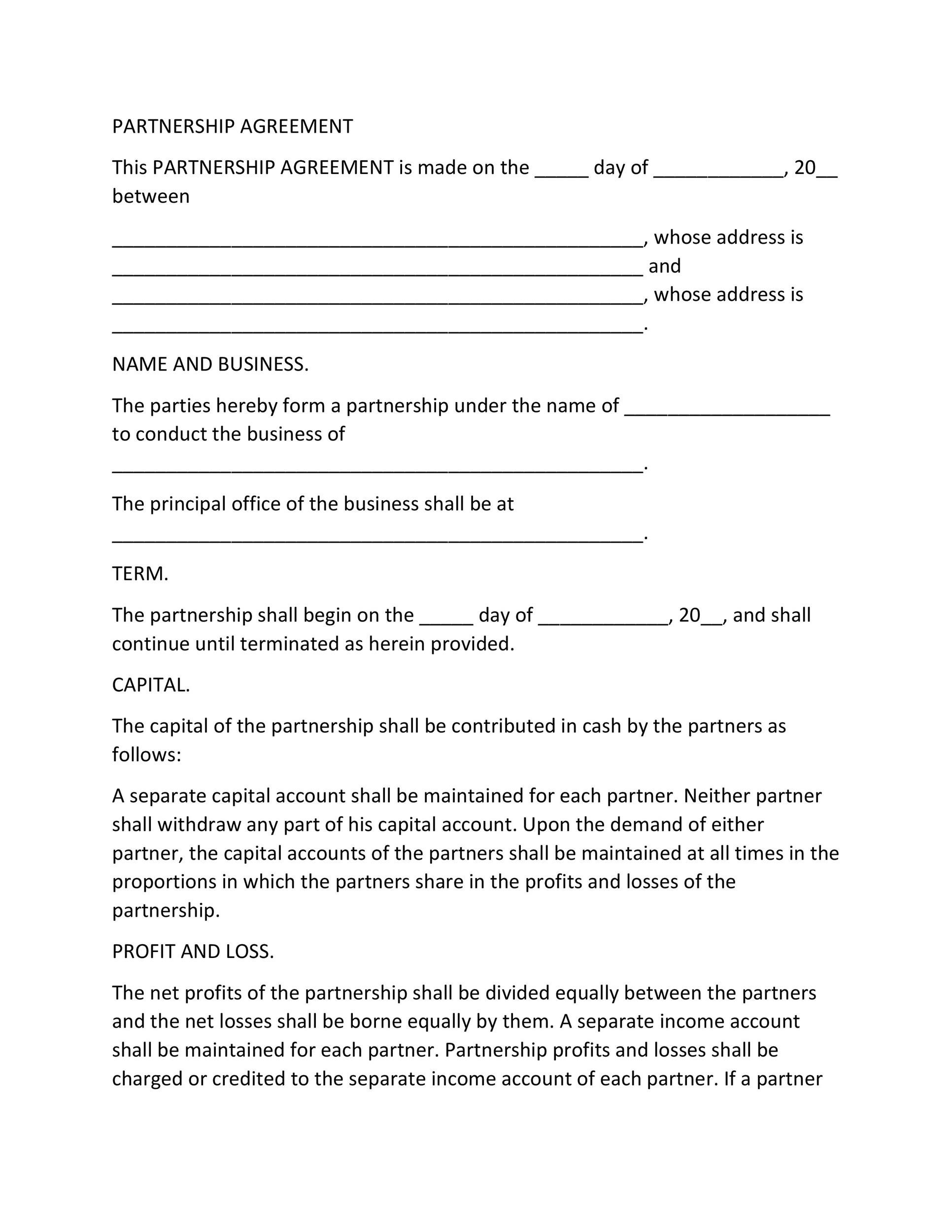 Free Partnership Agreement Template 08
