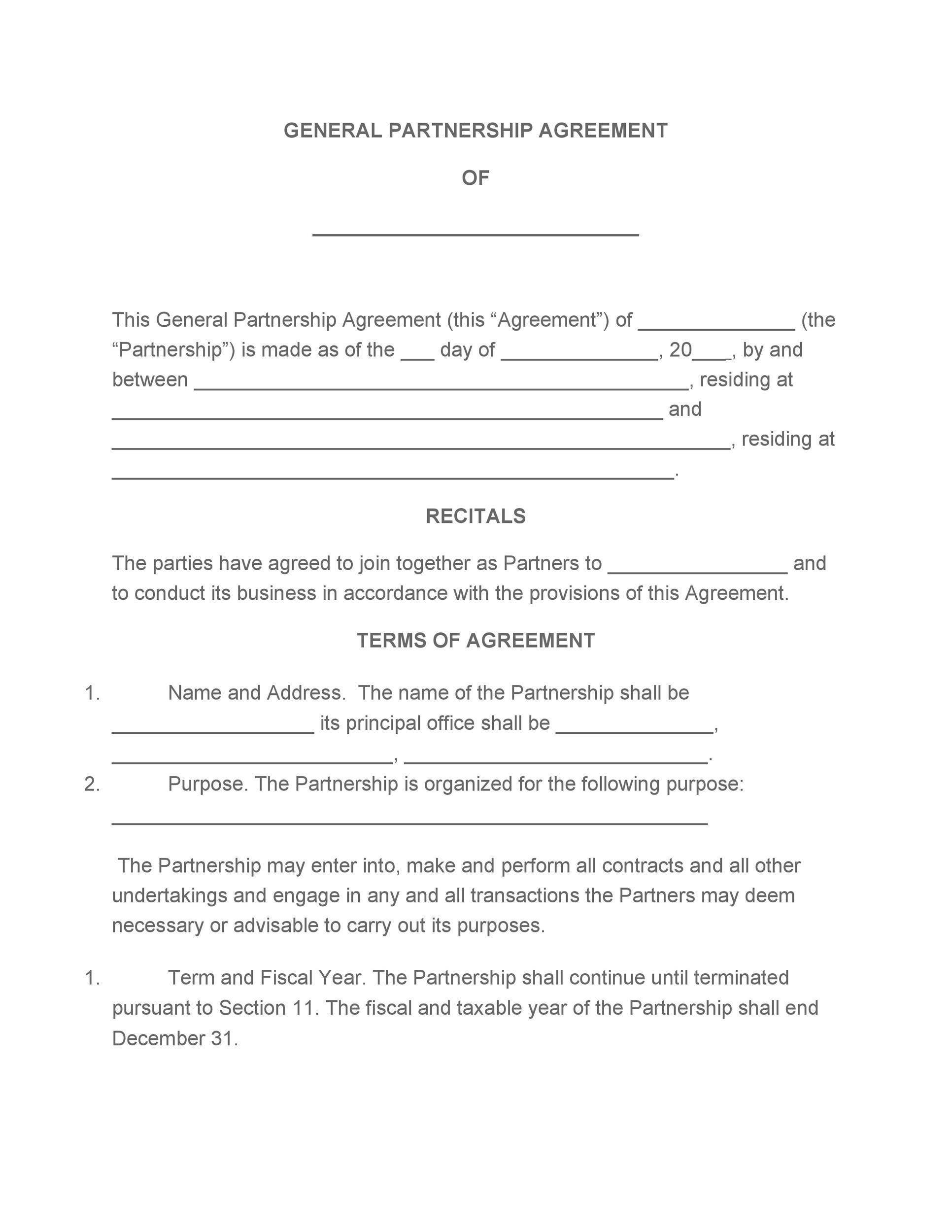 Free Partnership Agreement Template 09