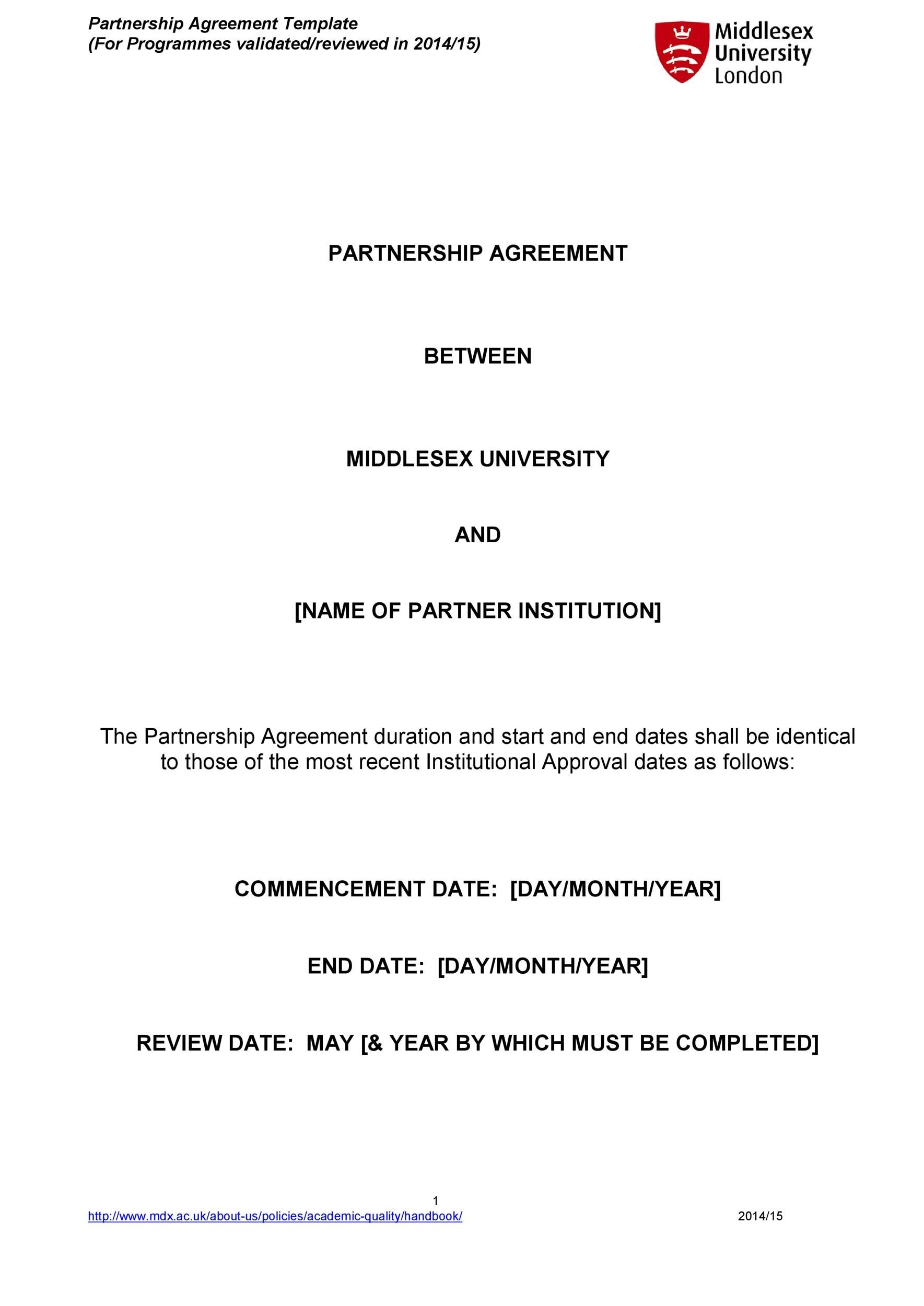 Free Partnership Agreement Template 12
