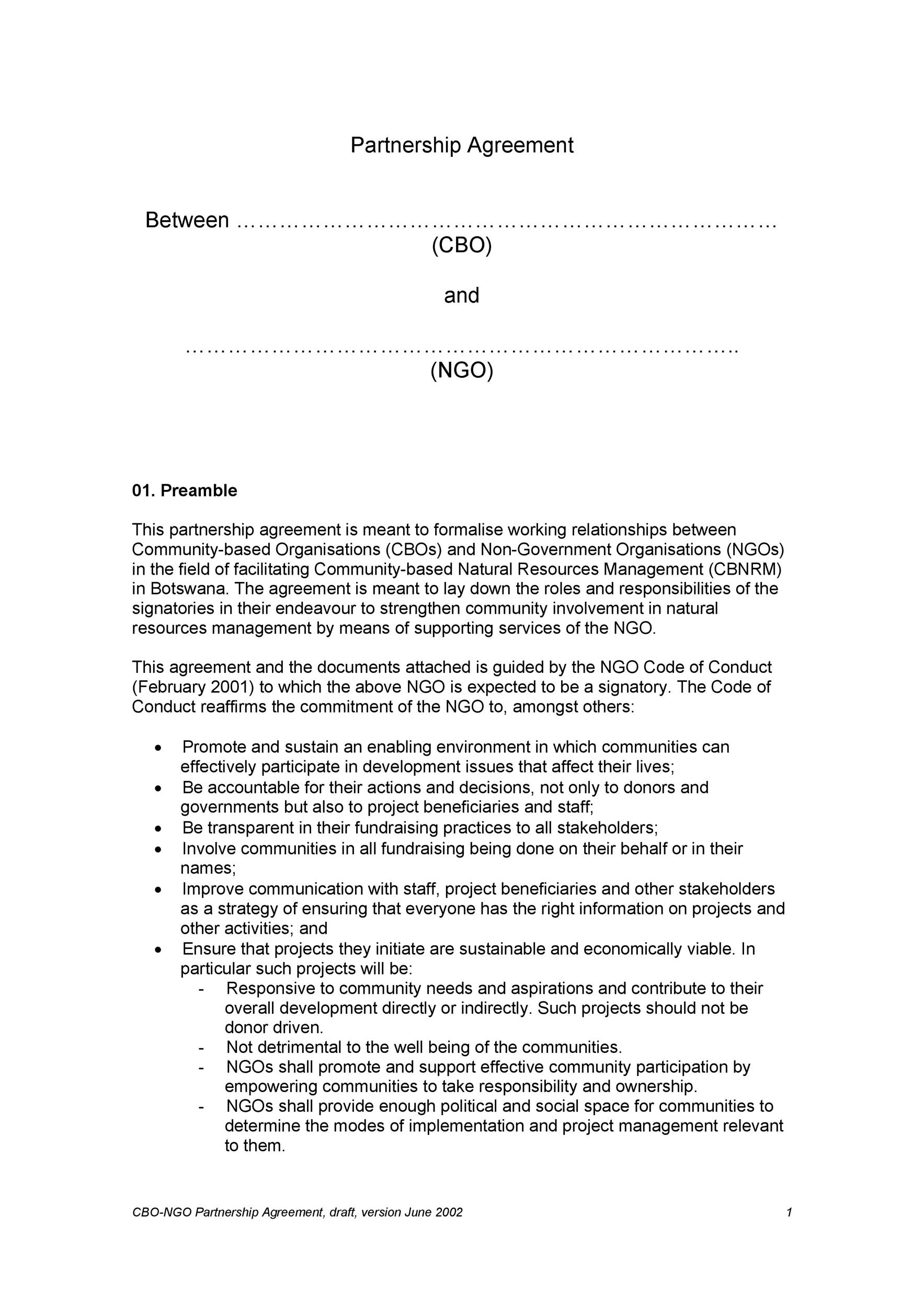 Free Partnership Agreement Template 13