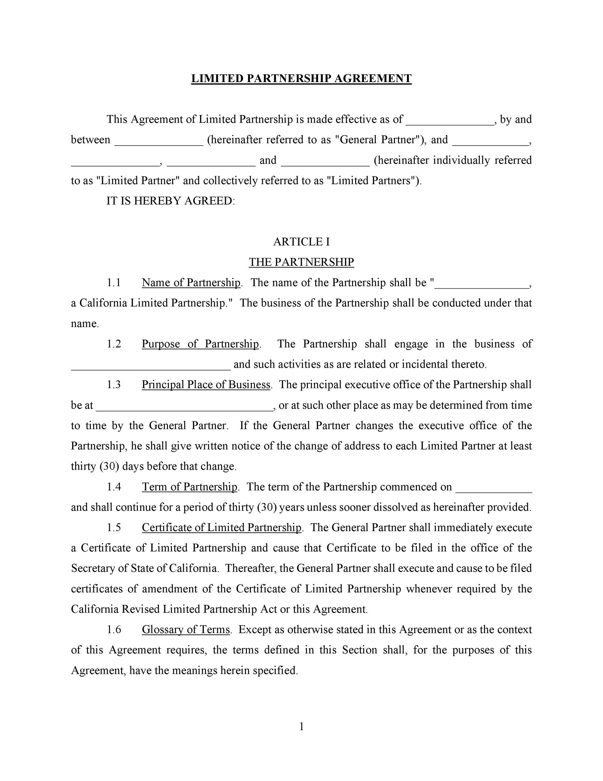 Printable Partnership Agreement Template 20  Partnership Agreement Free Template