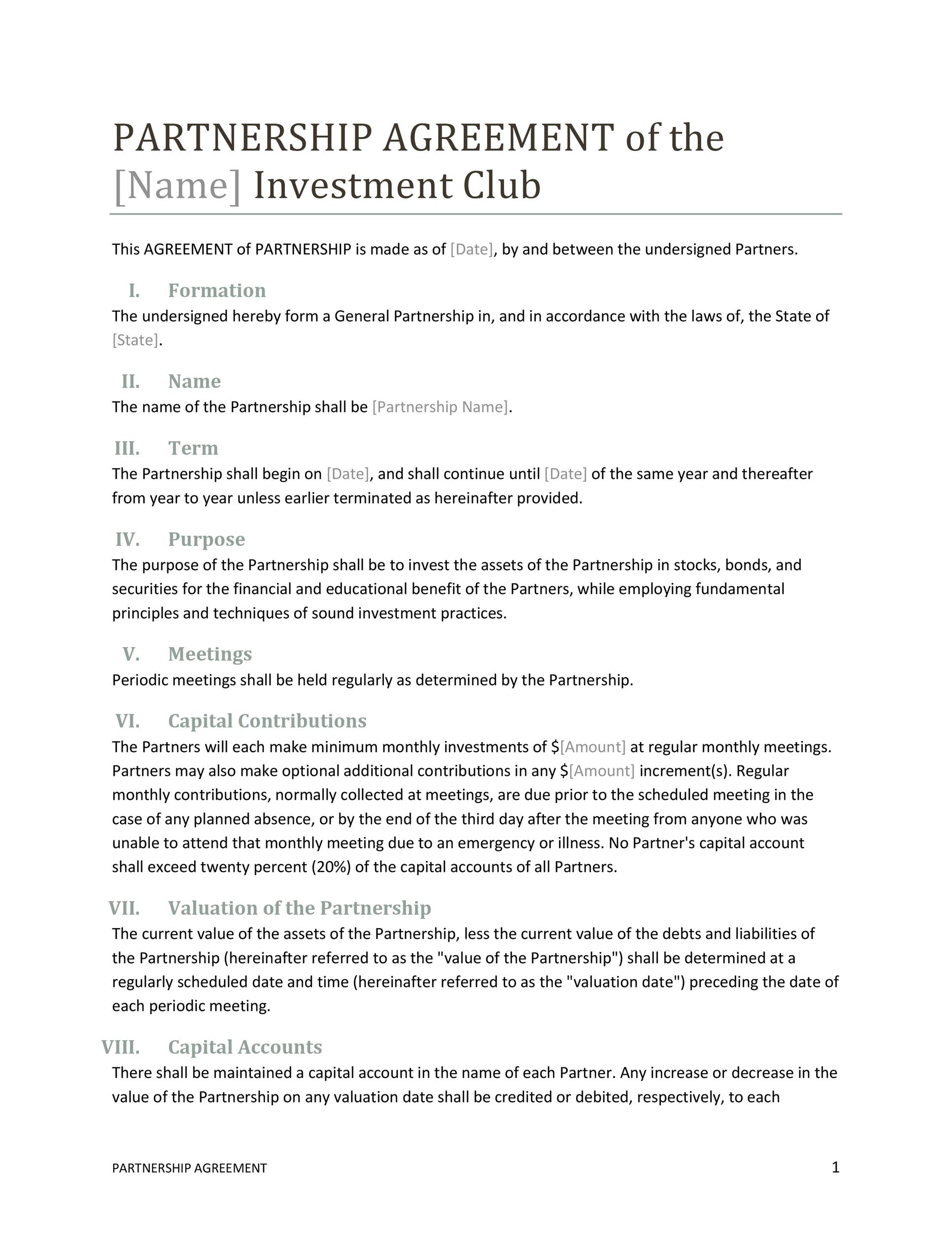 Free Partnership Agreement Template 21