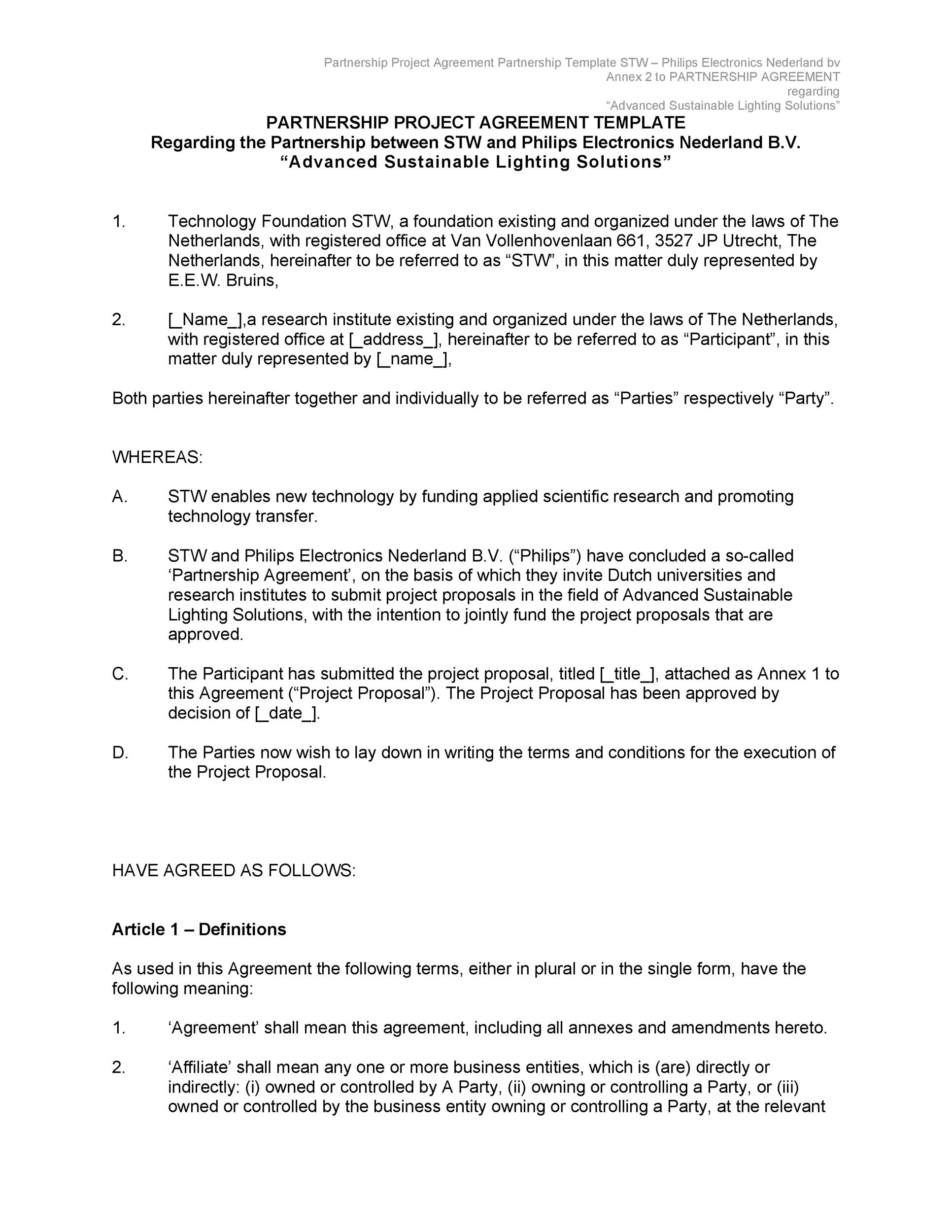 Free Partnership Agreement Template 22