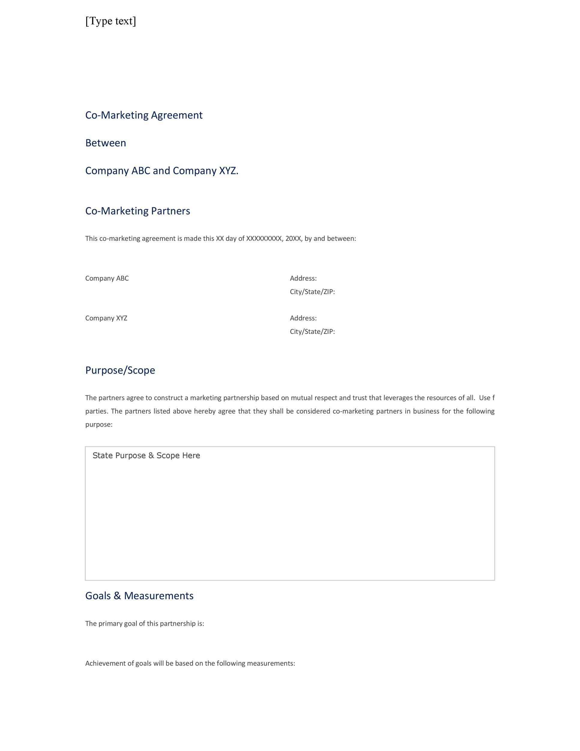 Free Partnership Agreement Templates Business General