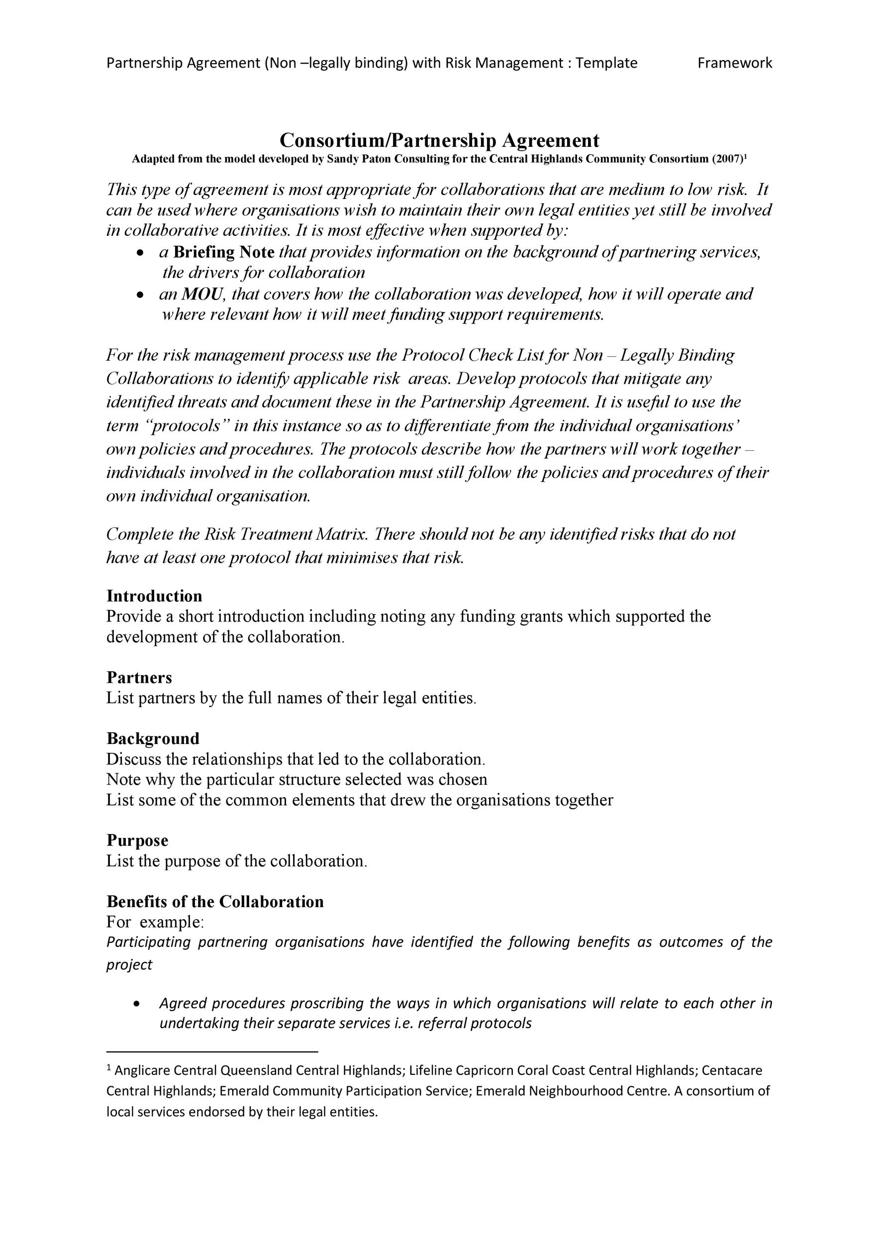 Free Partnership Agreement Template 28