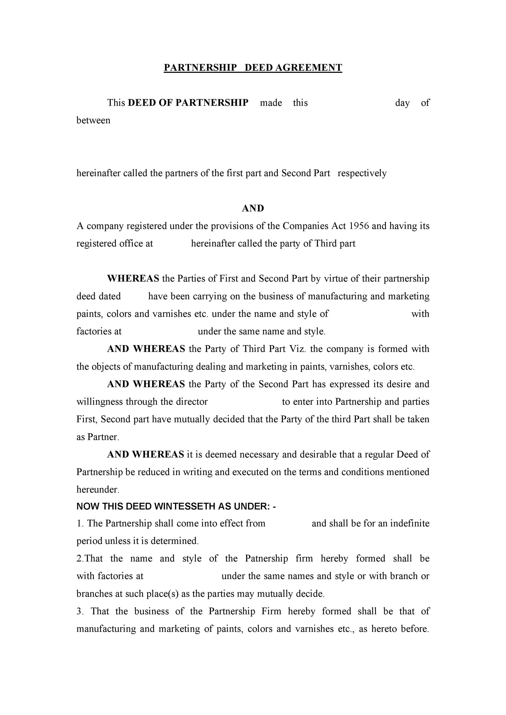 Free Partnership Agreement Template 30