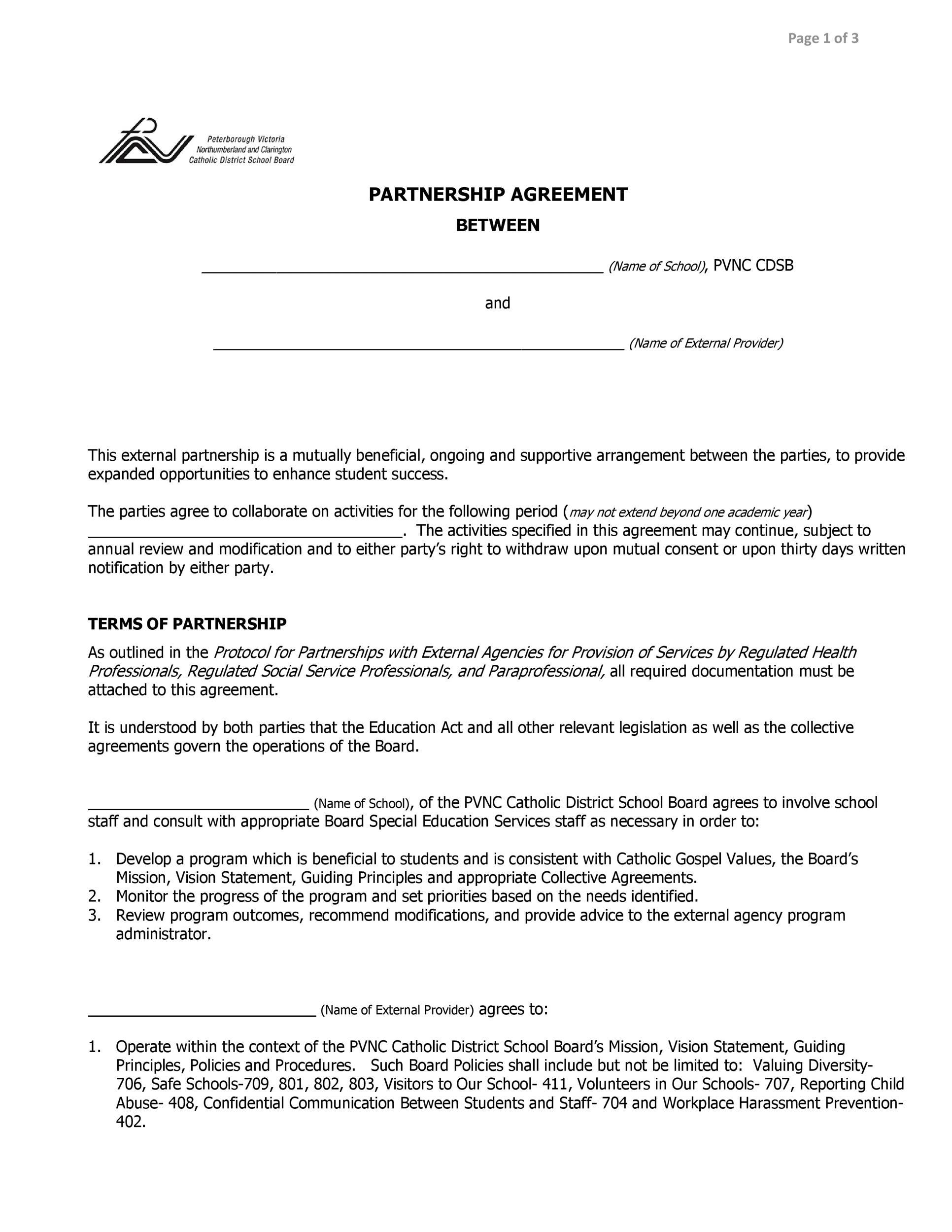 40 FREE Partnership Agreement Templates Business General – Business Partner Agreement