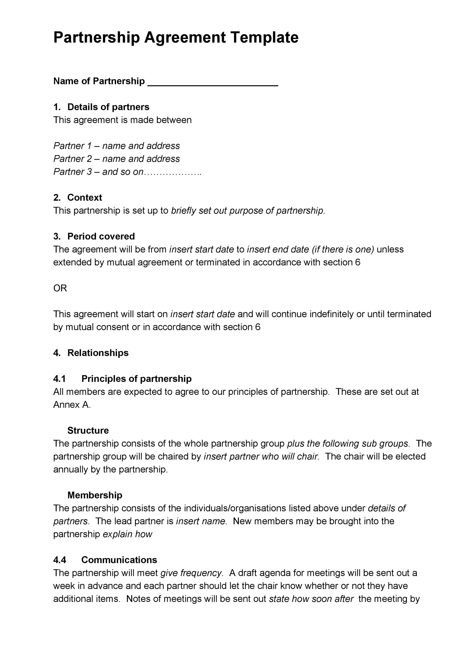 Free Partnership Agreement Template 40