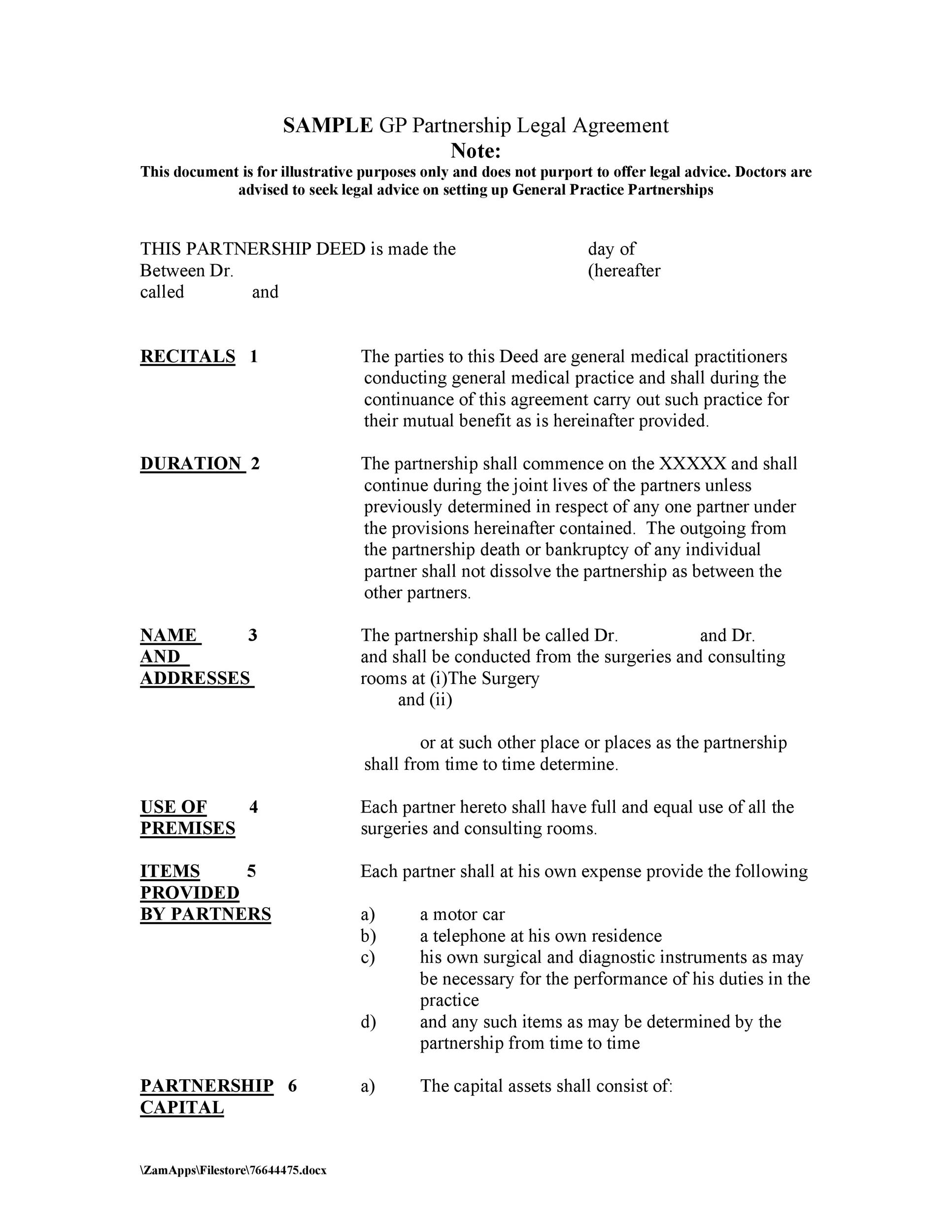 Free Partnership Agreement Template 41