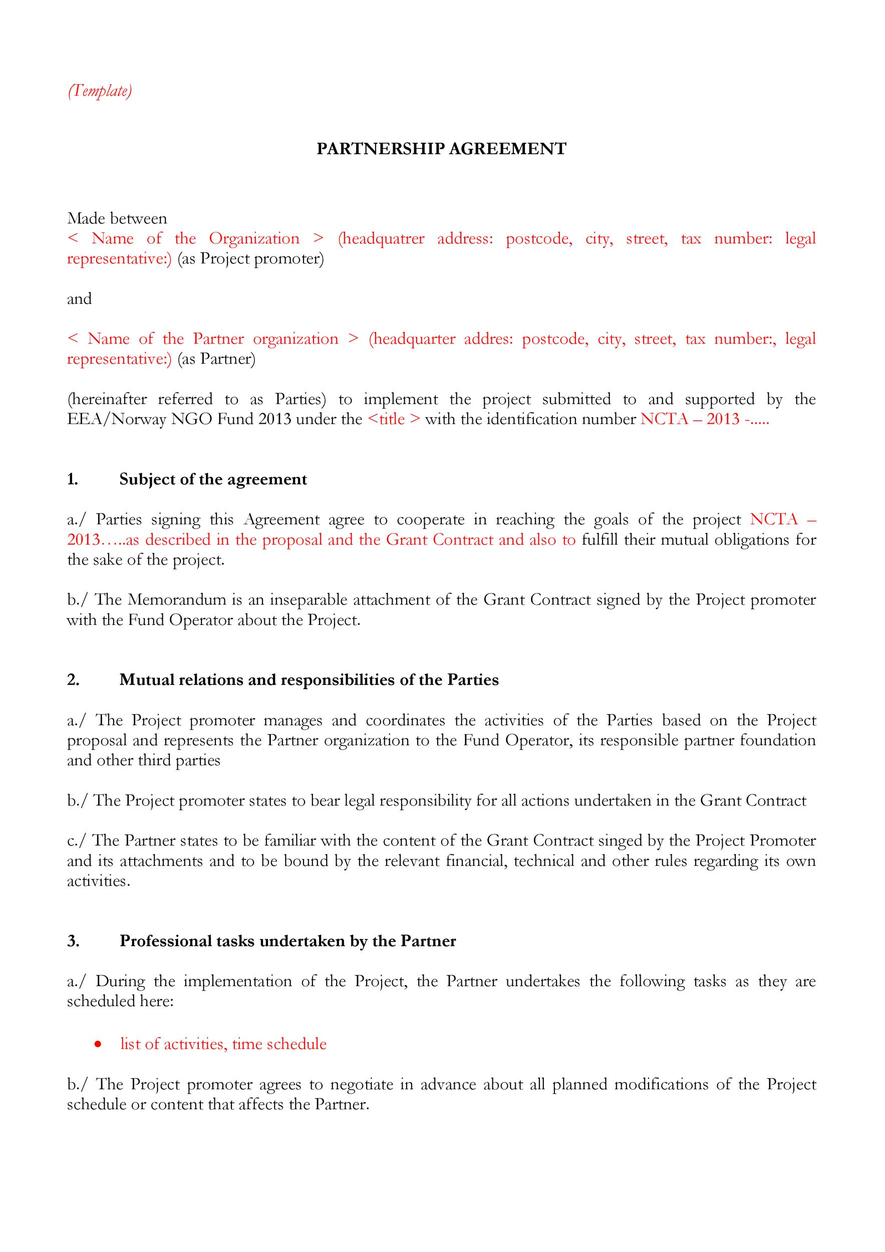 Free Partnership Agreement Template 43