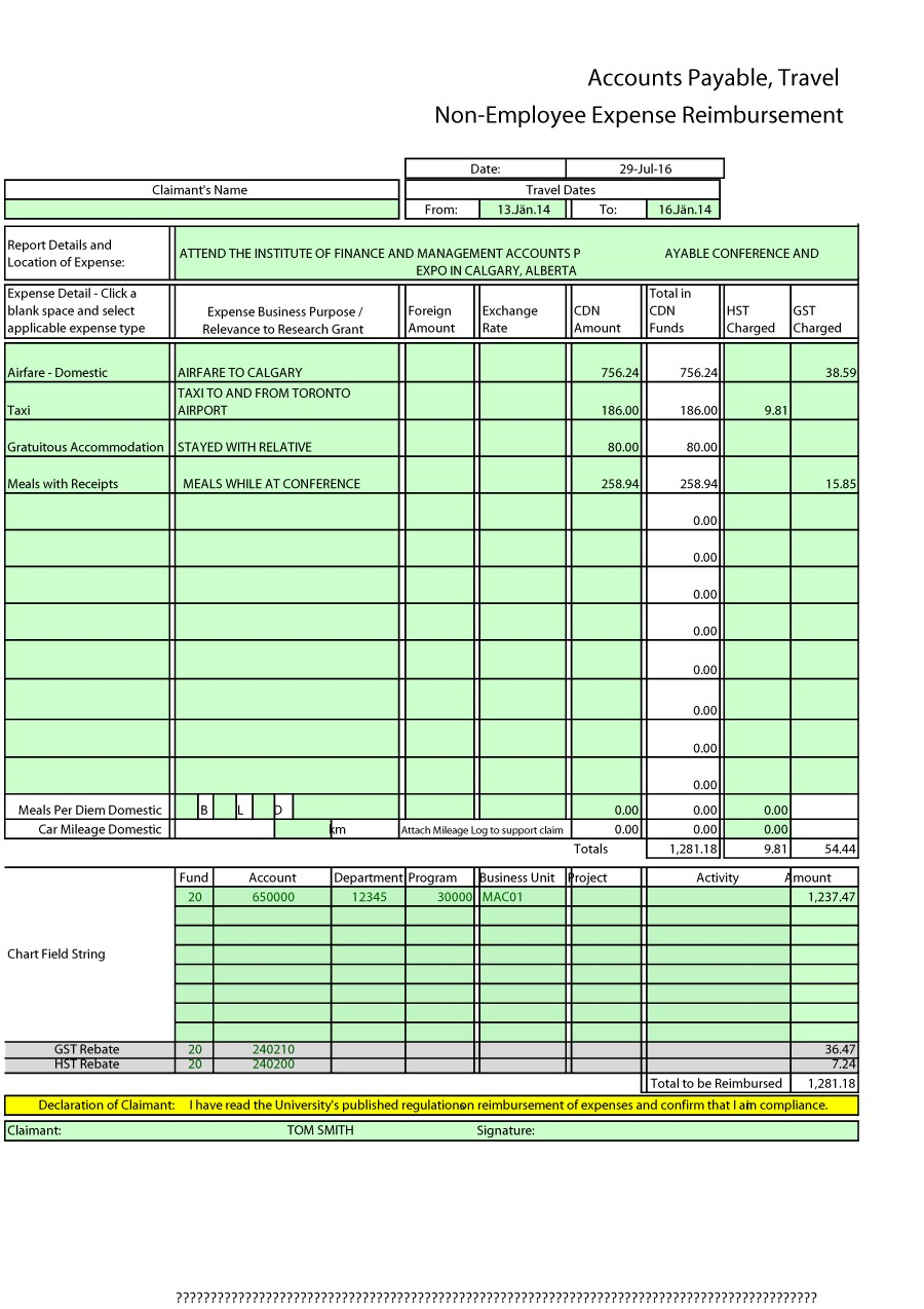 Printable Expense Report Template 04  Examples Of Expense Reports