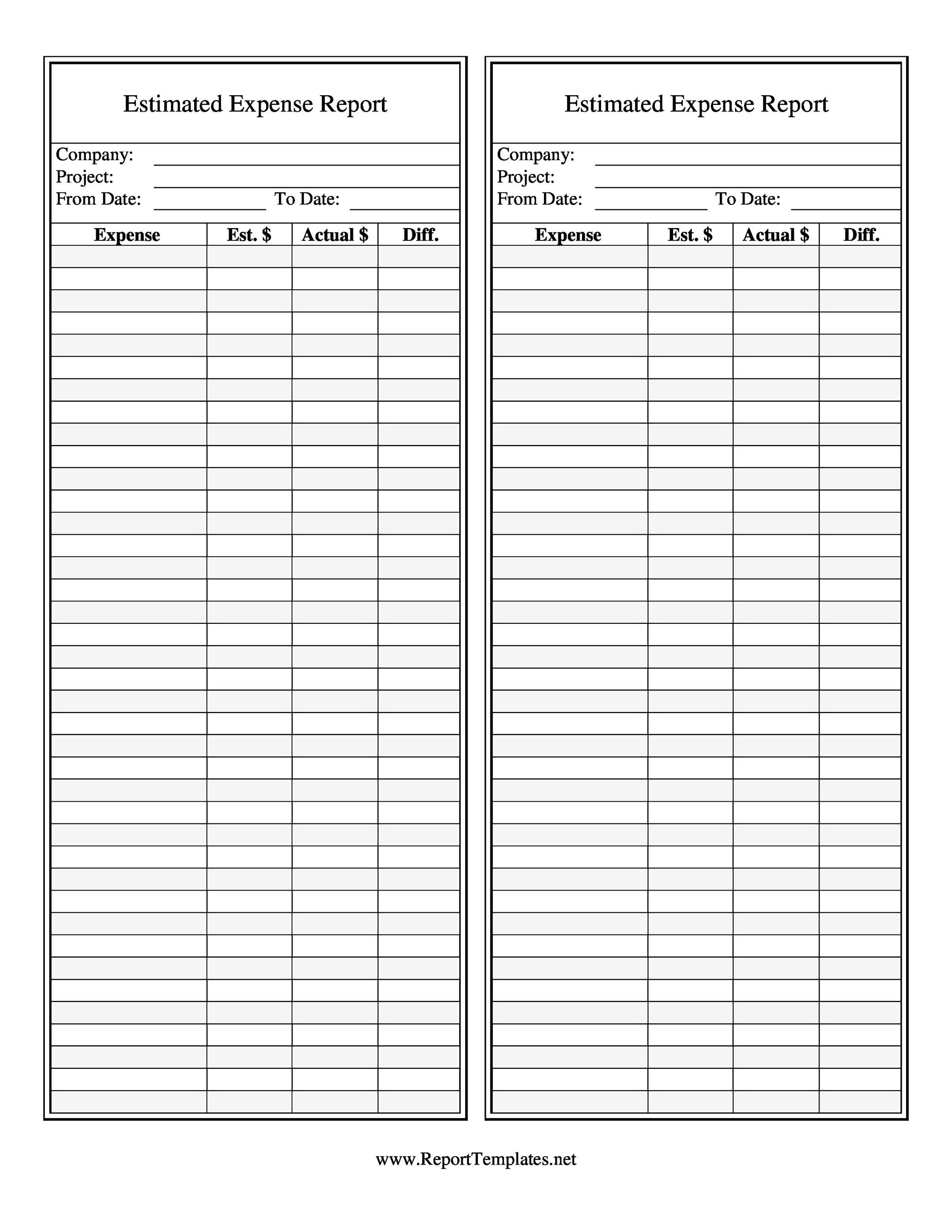 Printable Expense Report Template 07  Detailed Expense Report Template