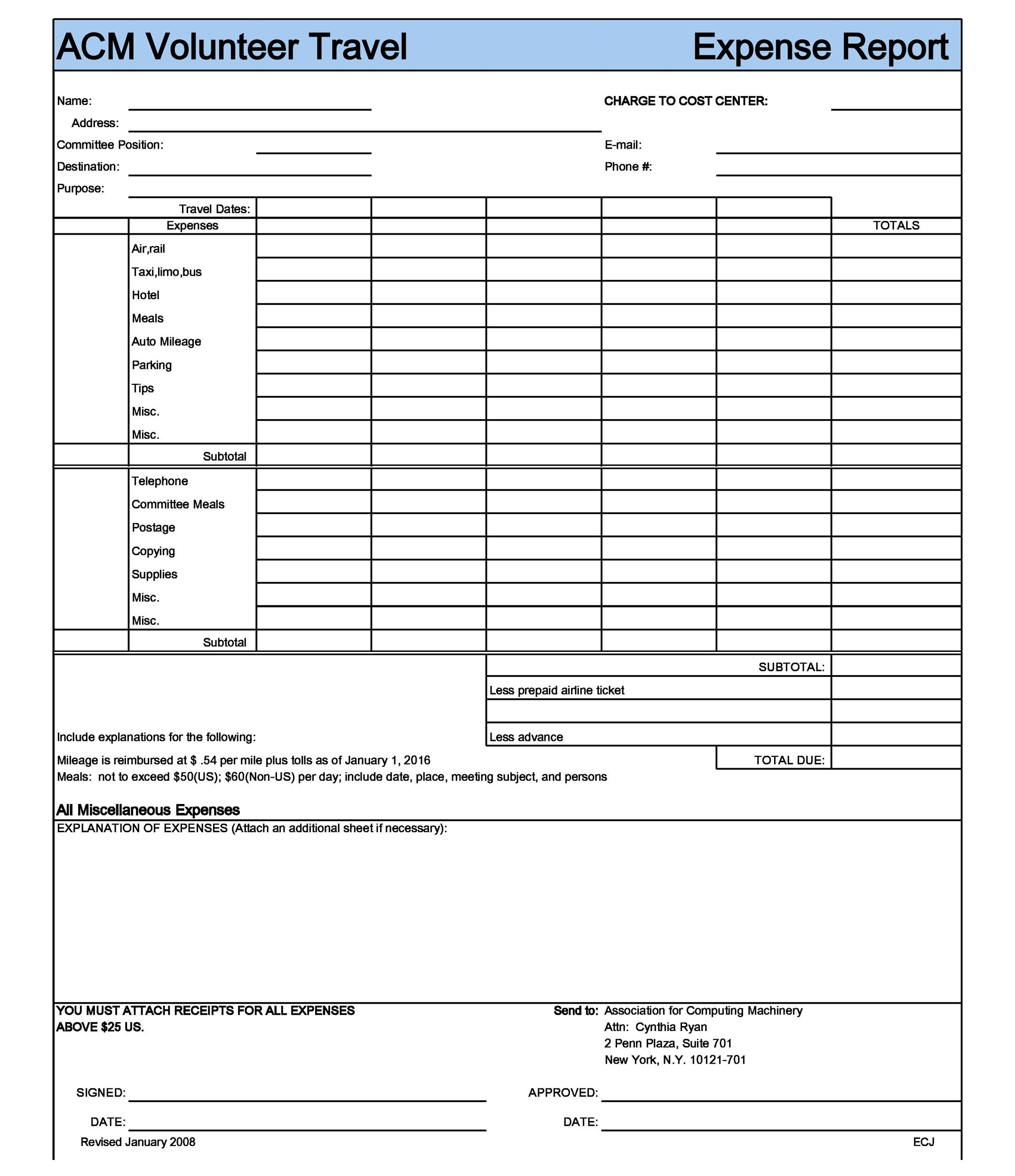 Printable Expense Report Template 10  Example Expense Report