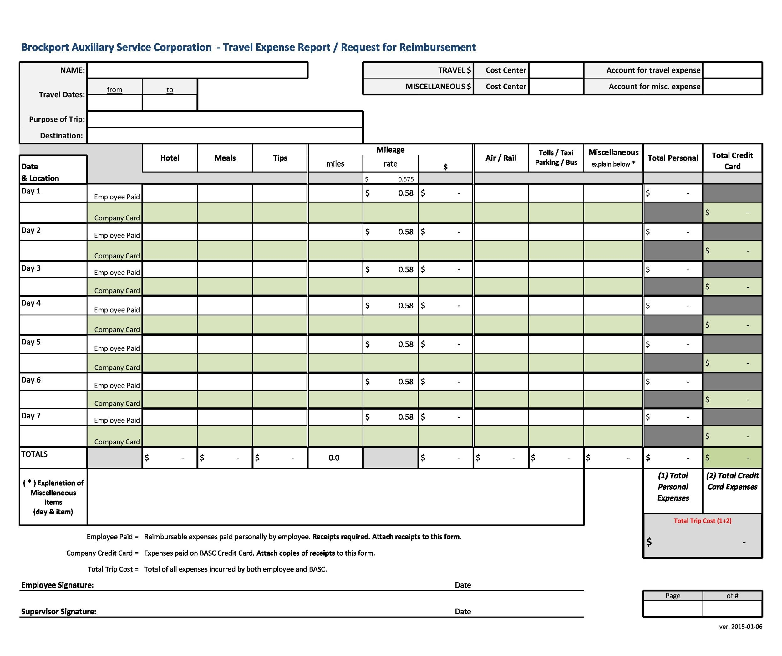 Expense Report Sample  Free Expense Report Template  Procedure