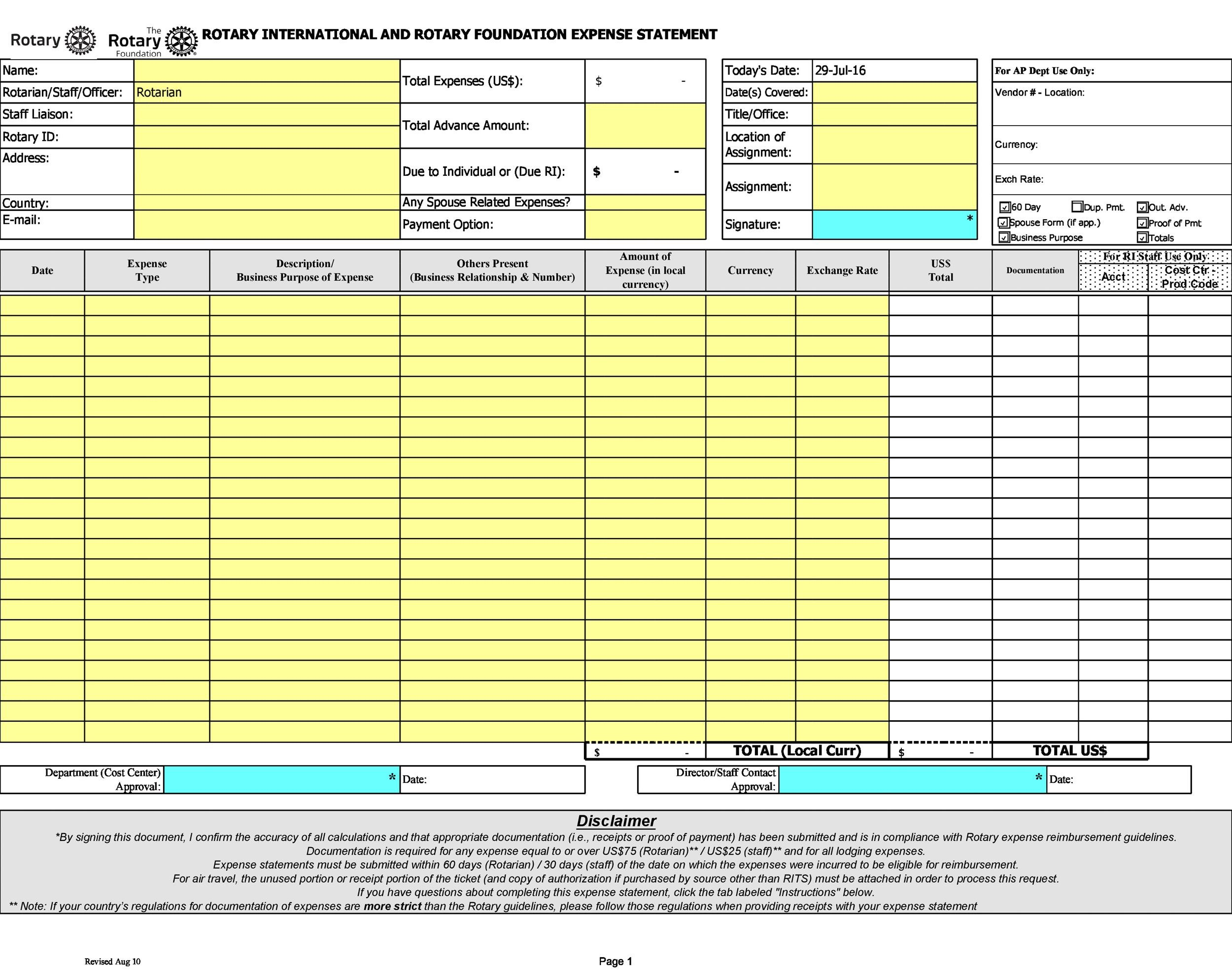 Free expense report template 12