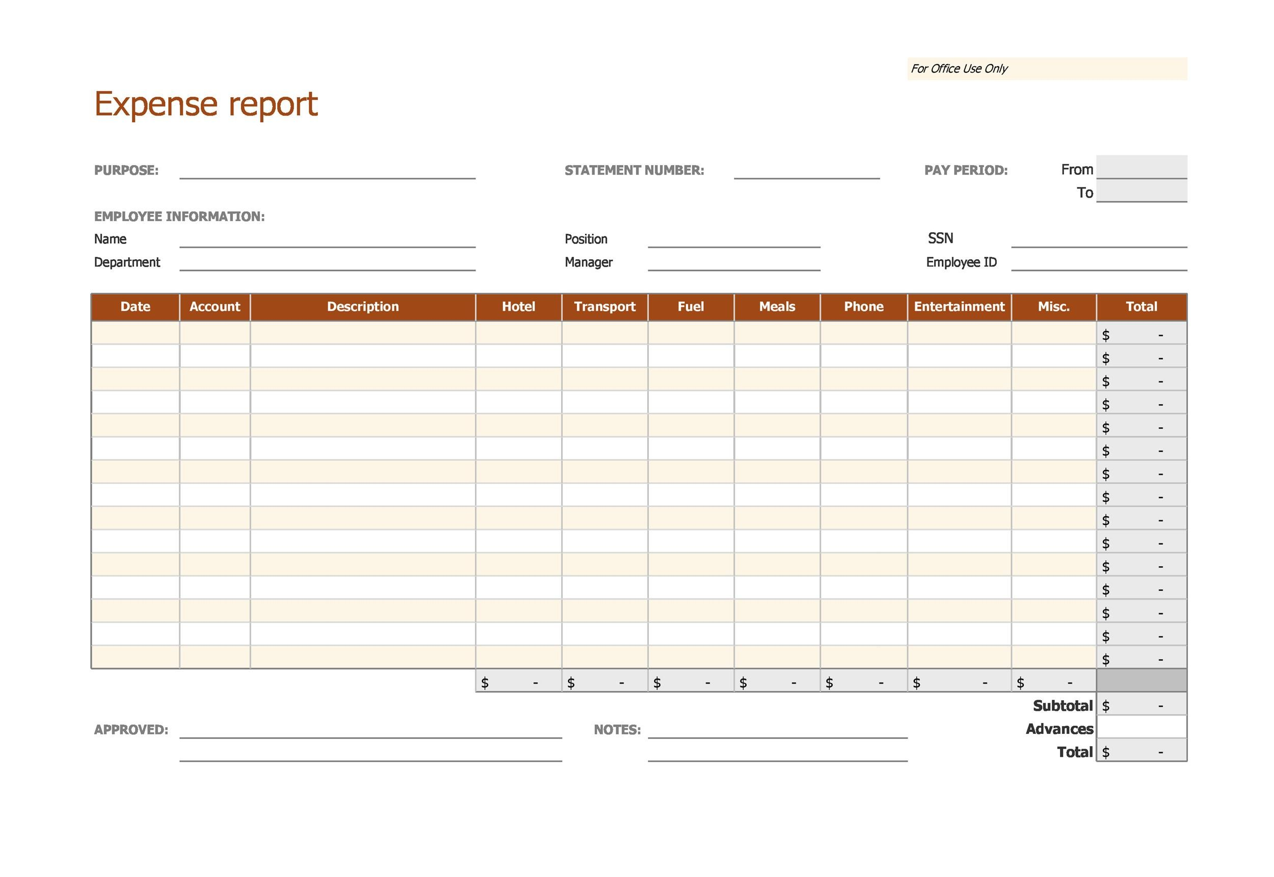 Free expense report template 13