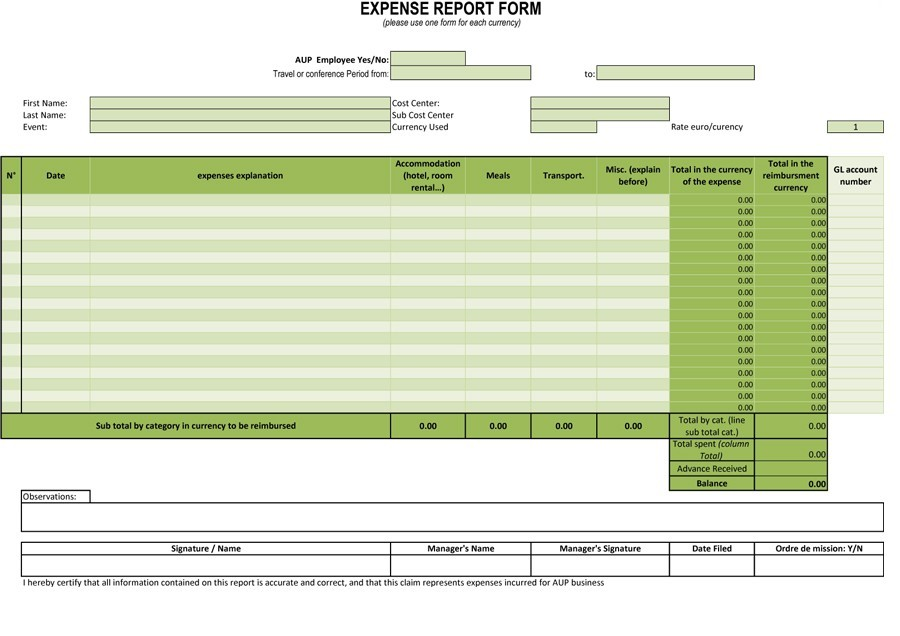Free expense report template 14