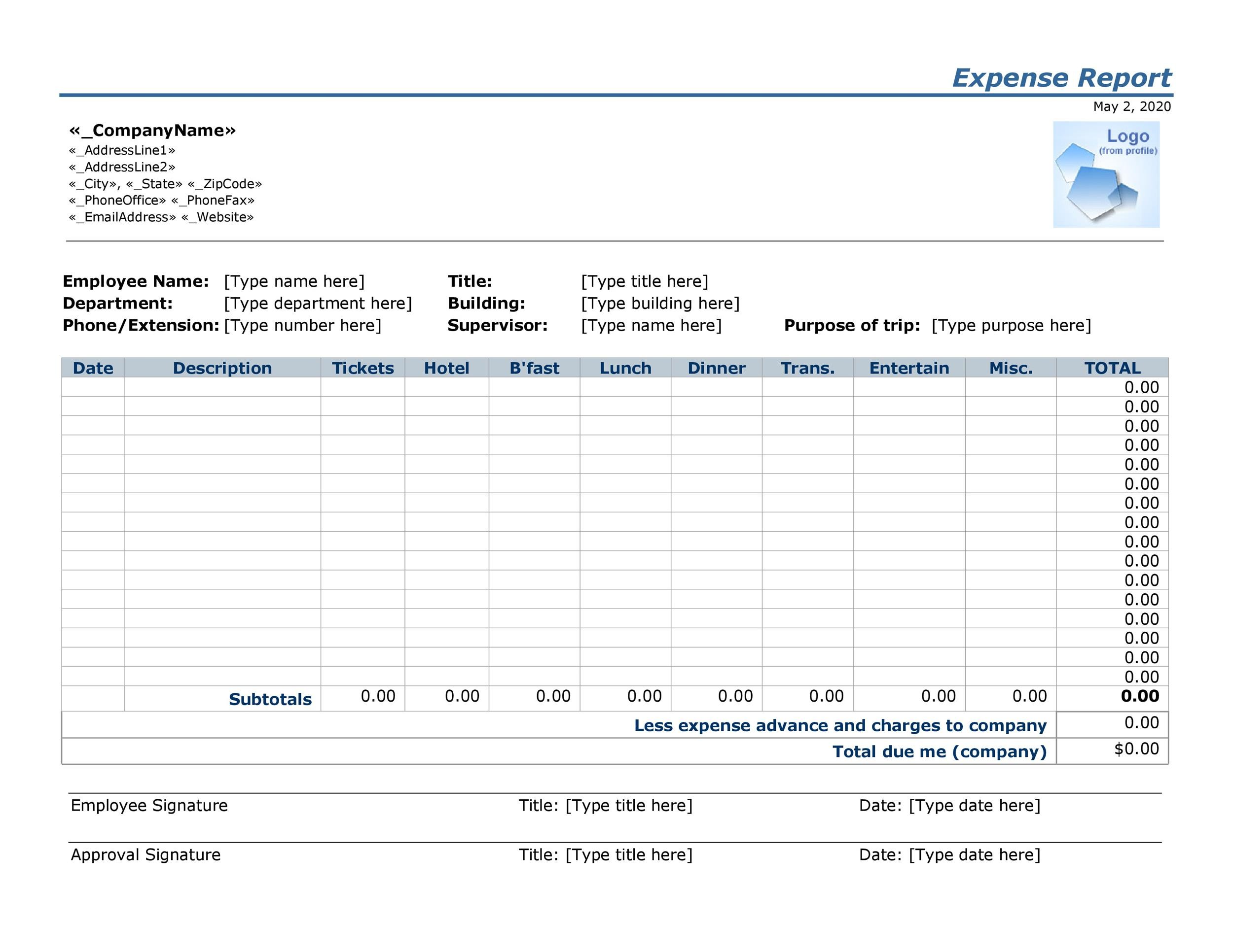 Free expense report template 25