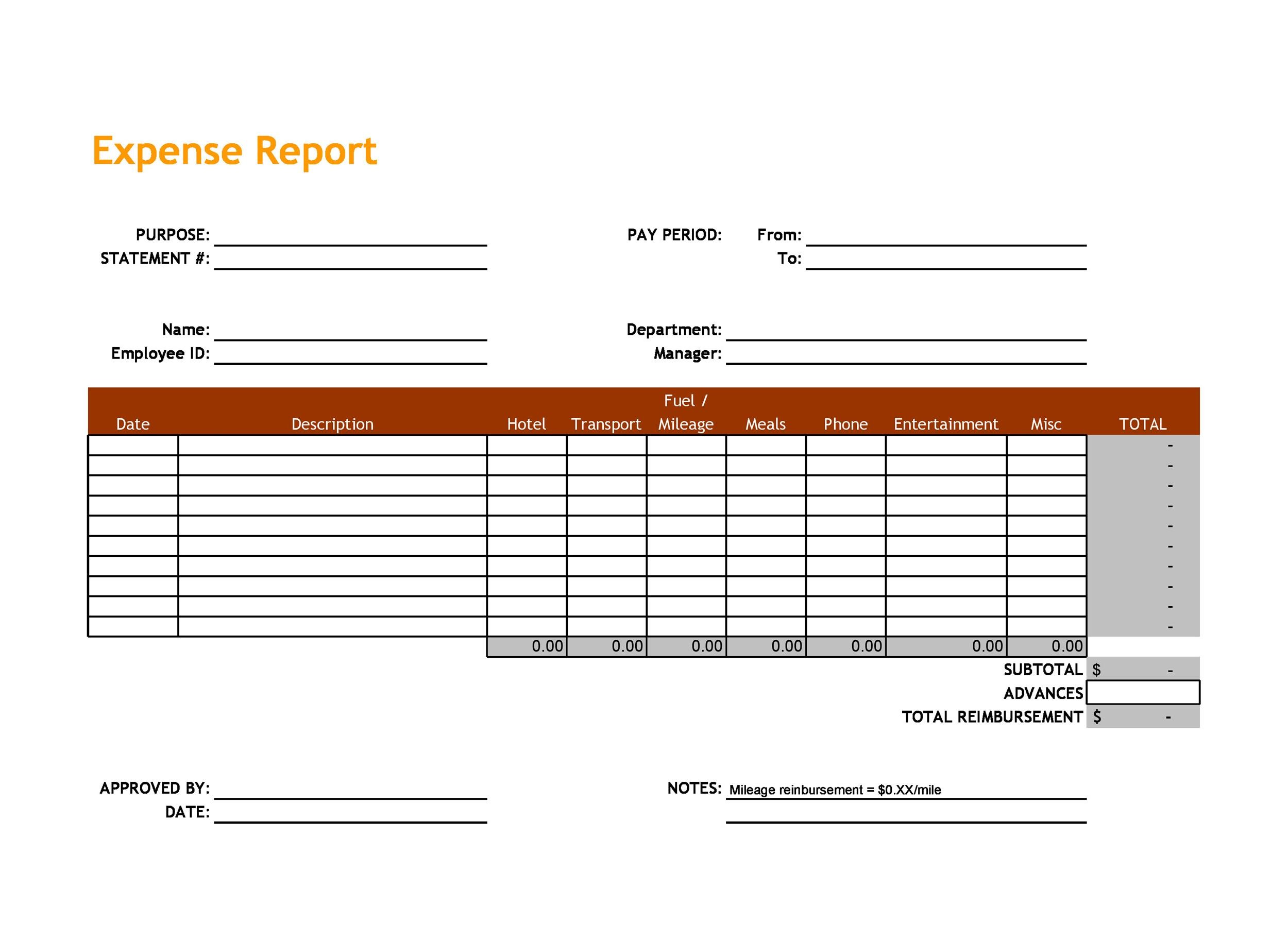 Free expense report template 31