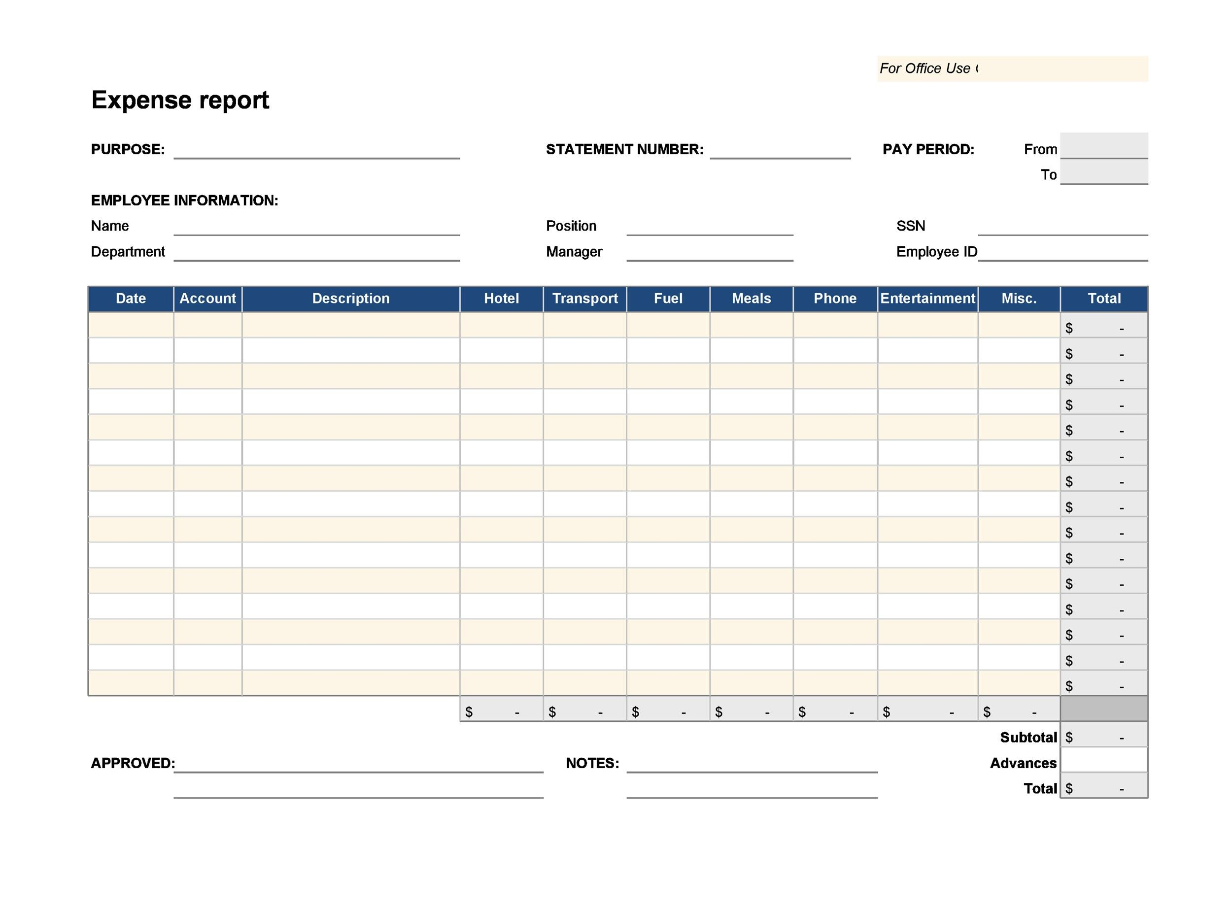Free expense report template 33